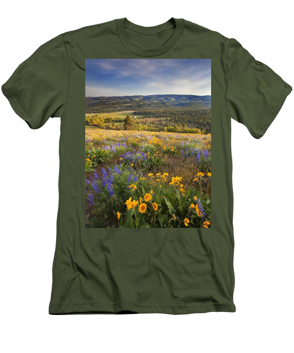Wildflowers Men's T-Shirt (Athletic Fit) featuring the photograph Golden Valley by Mike Dawson