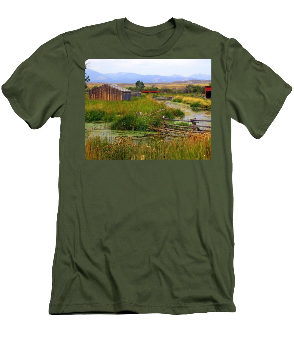 Ranch Men's T-Shirt (Athletic Fit) featuring the photograph Grant Khors Ranch Deer Lodge Mt by Marty Koch