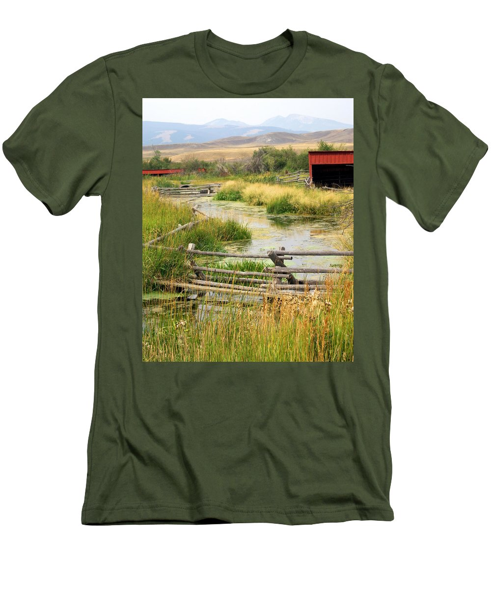 Ranch Men's T-Shirt (Athletic Fit) featuring the photograph Grants Khors Ranch Vertical by Marty Koch
