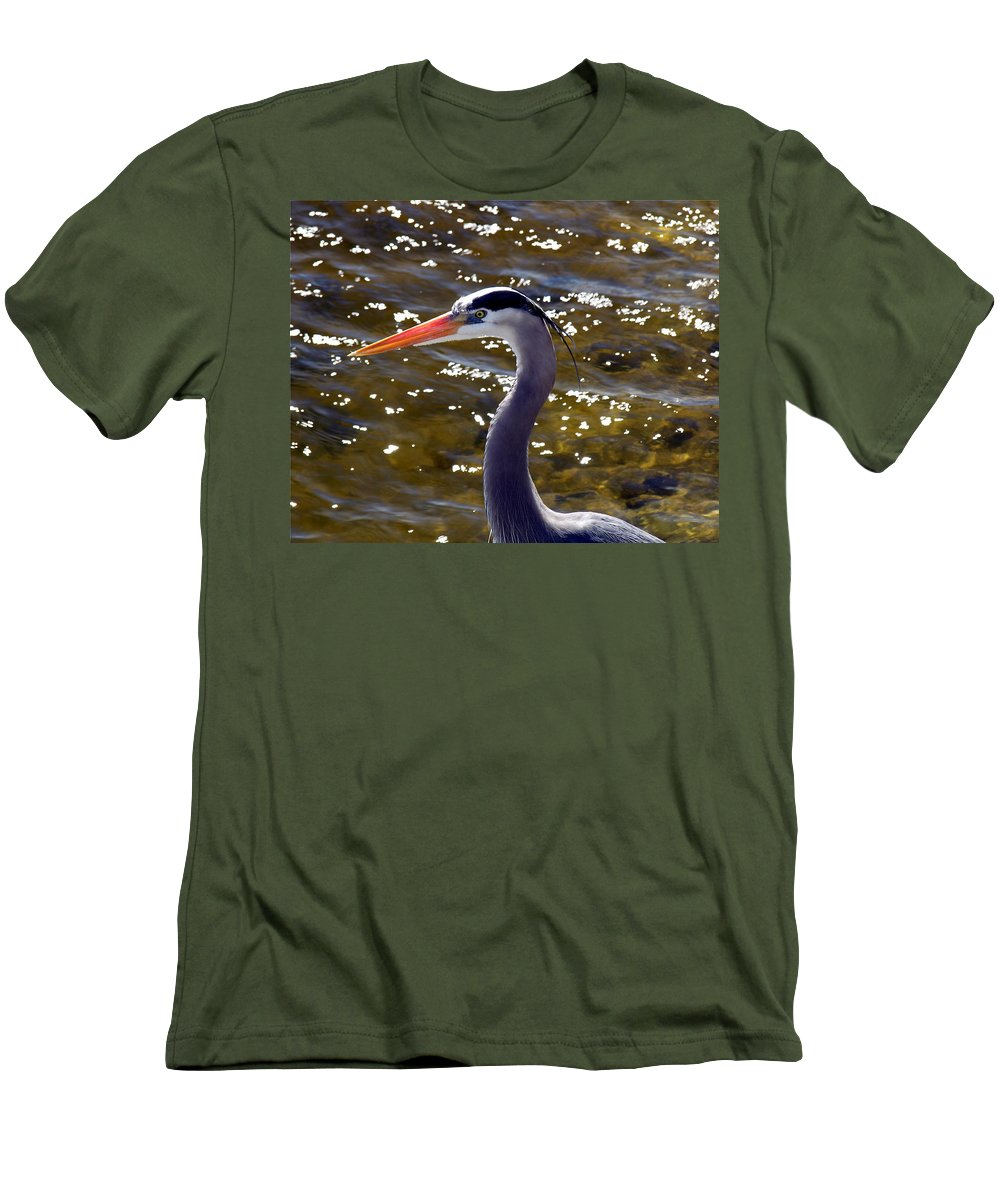 Ardea; Herodias; Great; Blue; Heron; Bird; Water; Fowl; Waterfowl; Merritt; Island; Wildlife; Refuge Men's T-Shirt (Athletic Fit) featuring the photograph Great Blue Heron by Allan Hughes