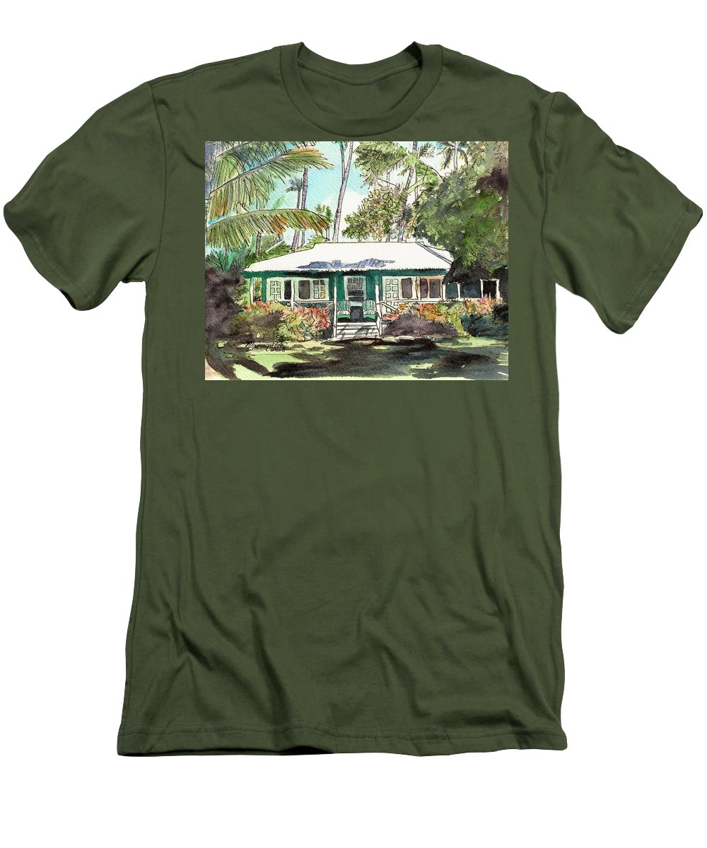 Cottage Men's T-Shirt (Athletic Fit) featuring the painting Green Cottage by Marionette Taboniar