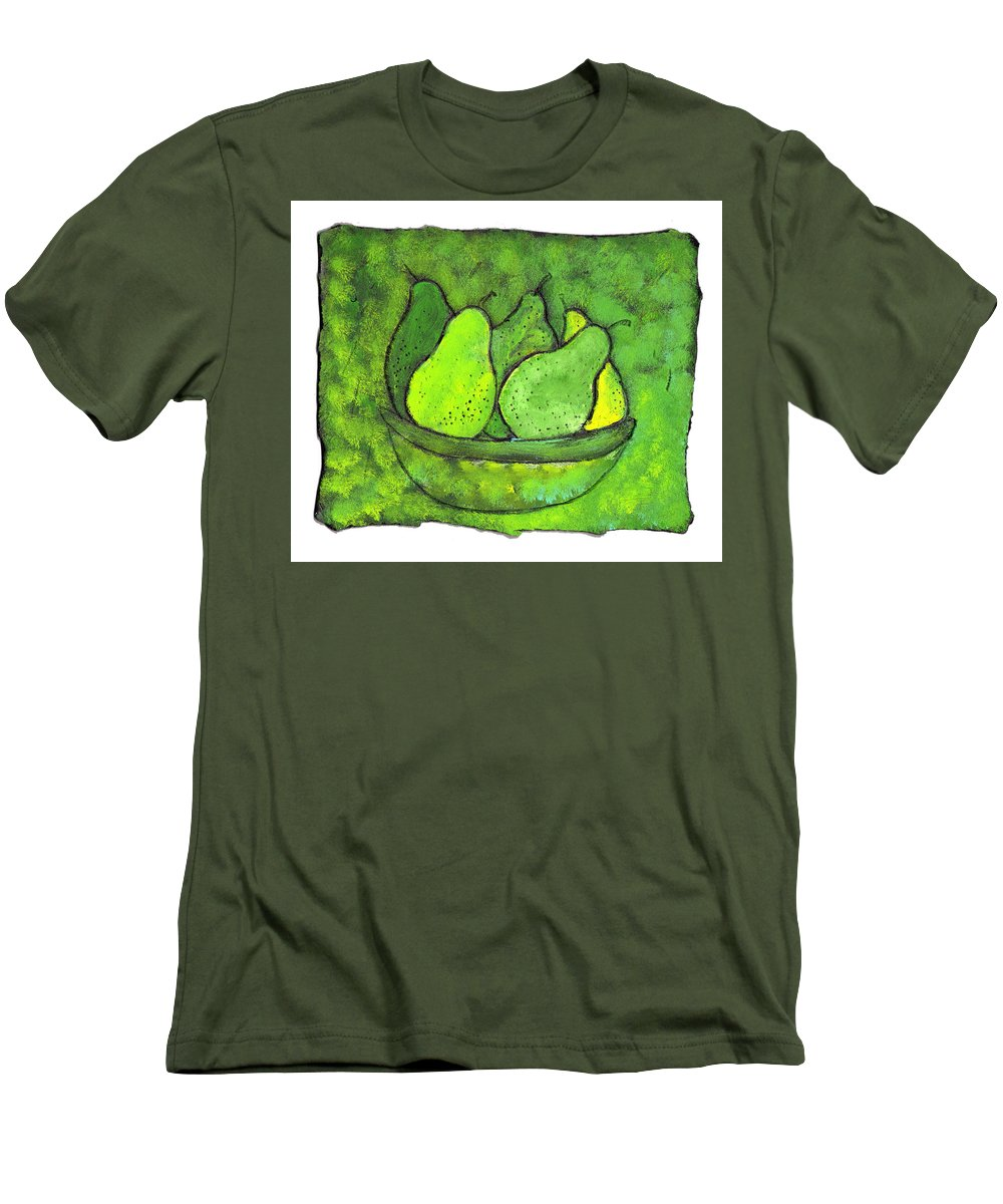 Greem. Pears Men's T-Shirt (Athletic Fit) featuring the painting Green Pears by Wayne Potrafka