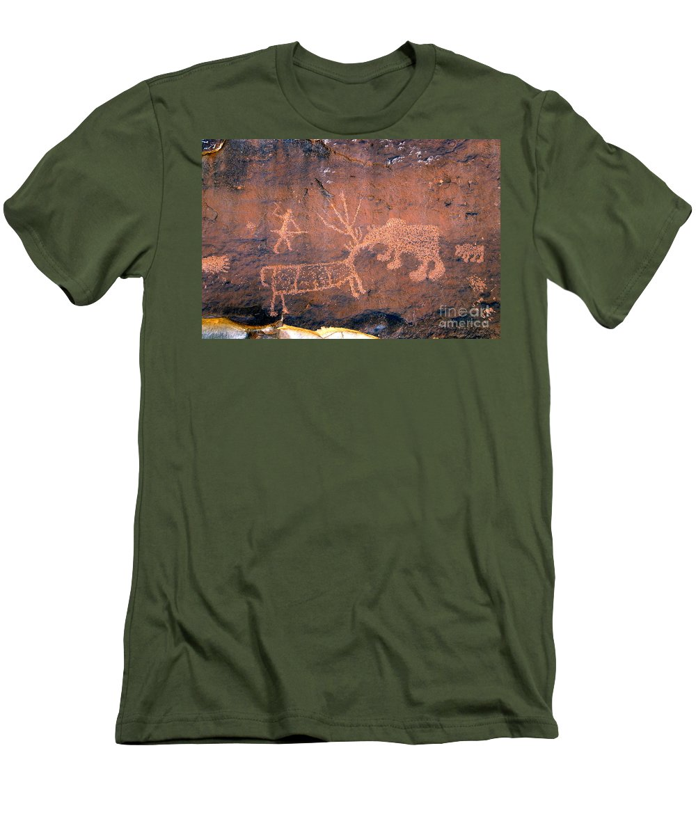Grizzly Bear Men's T-Shirt (Athletic Fit) featuring the photograph Grizzly Bear Attack by David Lee Thompson