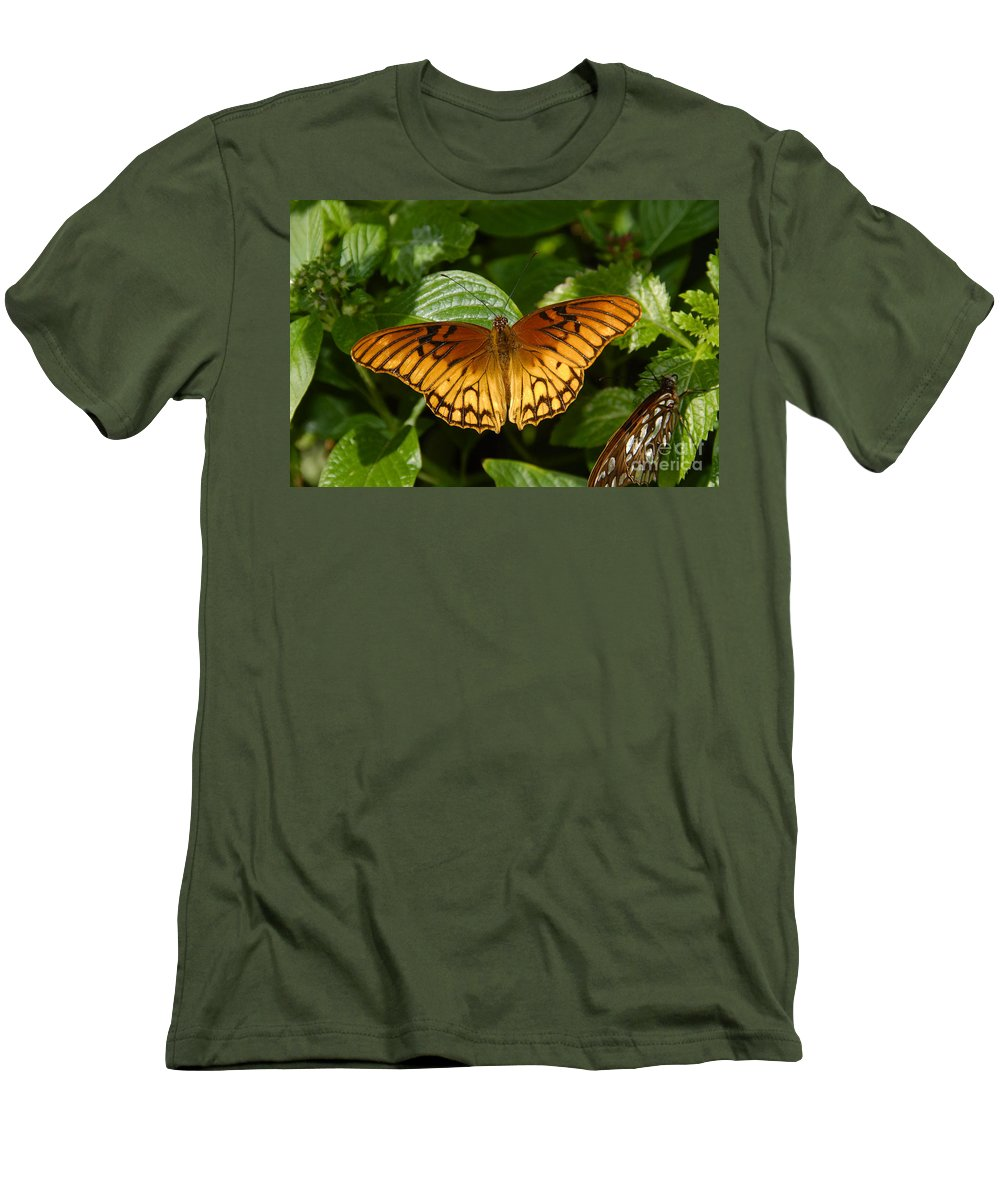 Gulf Fritillary Men's T-Shirt (Athletic Fit) featuring the photograph Gulf Fritillary by David Lee Thompson