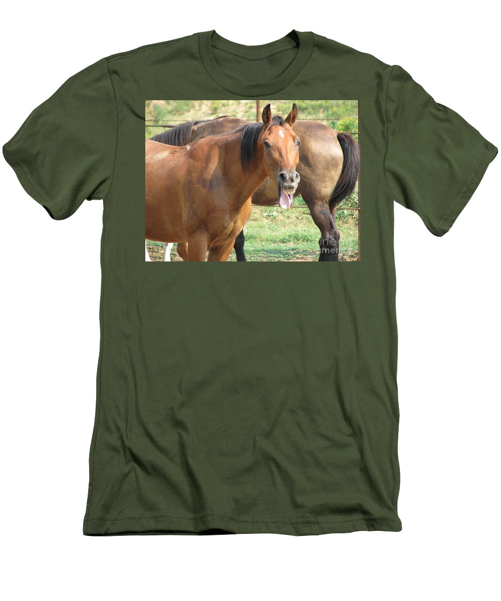 Horse Men's T-Shirt (Athletic Fit) featuring the photograph Haaaaa by Amanda Barcon