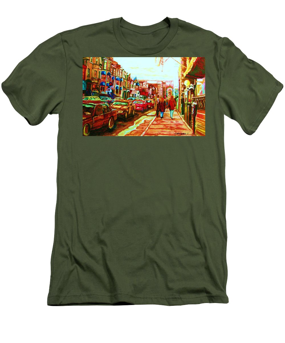 Montreal Streetscenes Men's T-Shirt (Athletic Fit) featuring the painting Hard Rock On Crescent by Carole Spandau