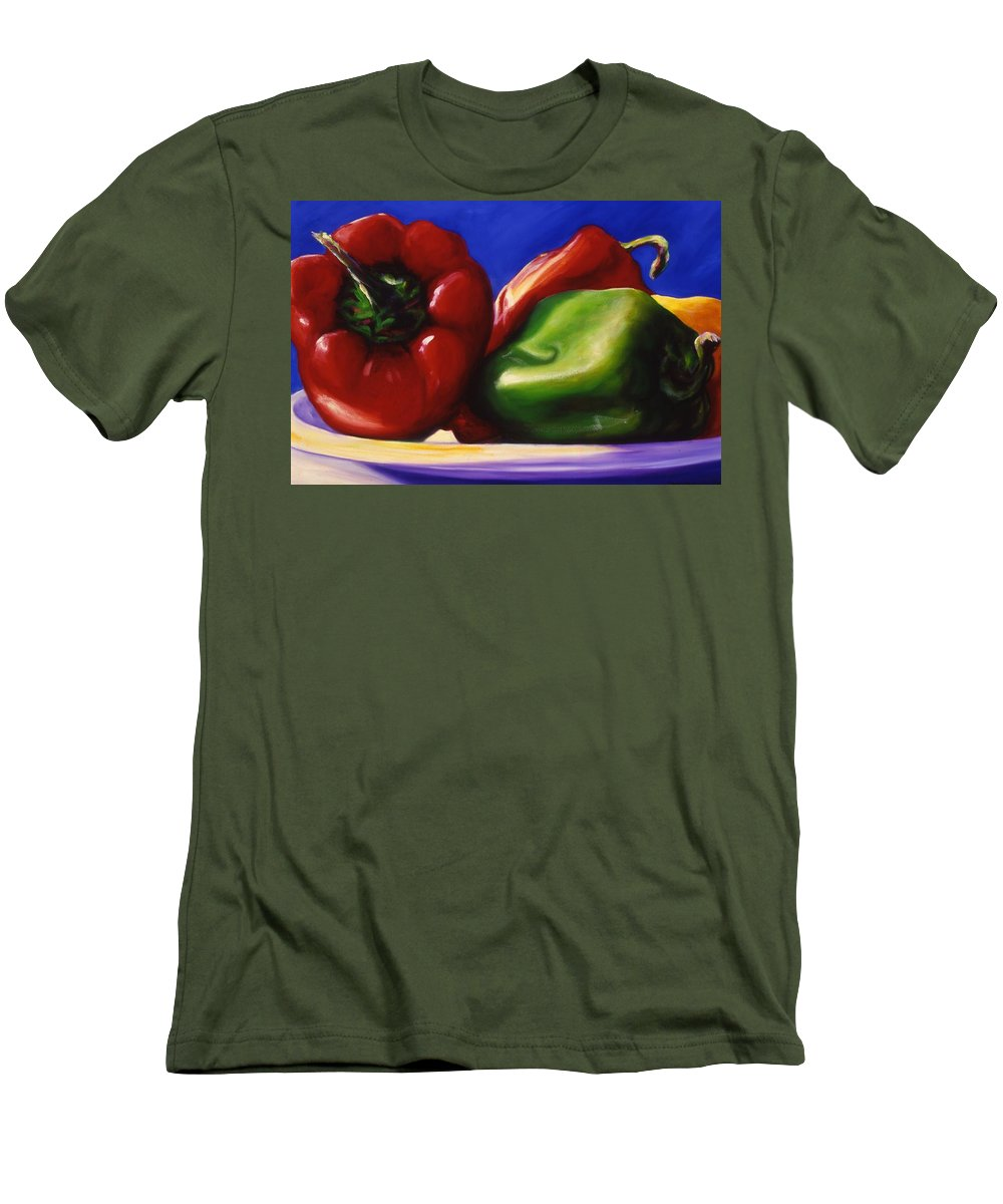 Still Life Men's T-Shirt (Athletic Fit) featuring the painting Harvest Festival Peppers by Shannon Grissom
