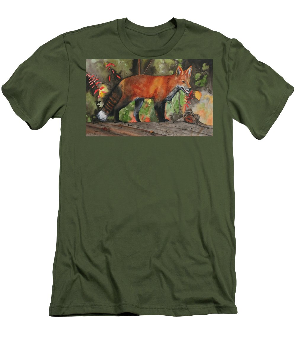 Fox Men's T-Shirt (Athletic Fit) featuring the painting Hiding In Plain Sight by Jean Blackmer