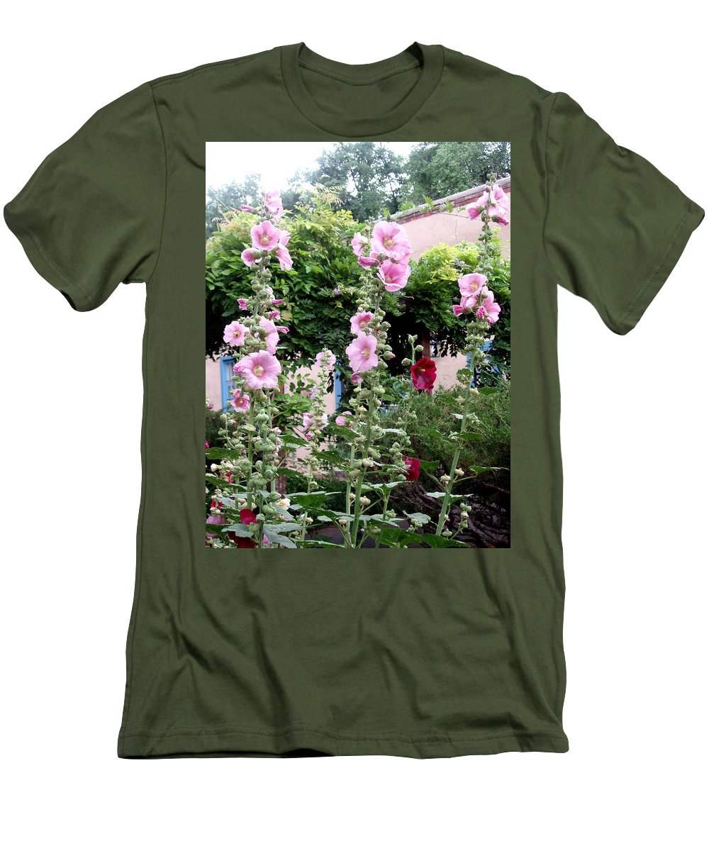 Flowers Men's T-Shirt (Athletic Fit) featuring the photograph Hollyhocks Taos New Mexico by Wayne Potrafka