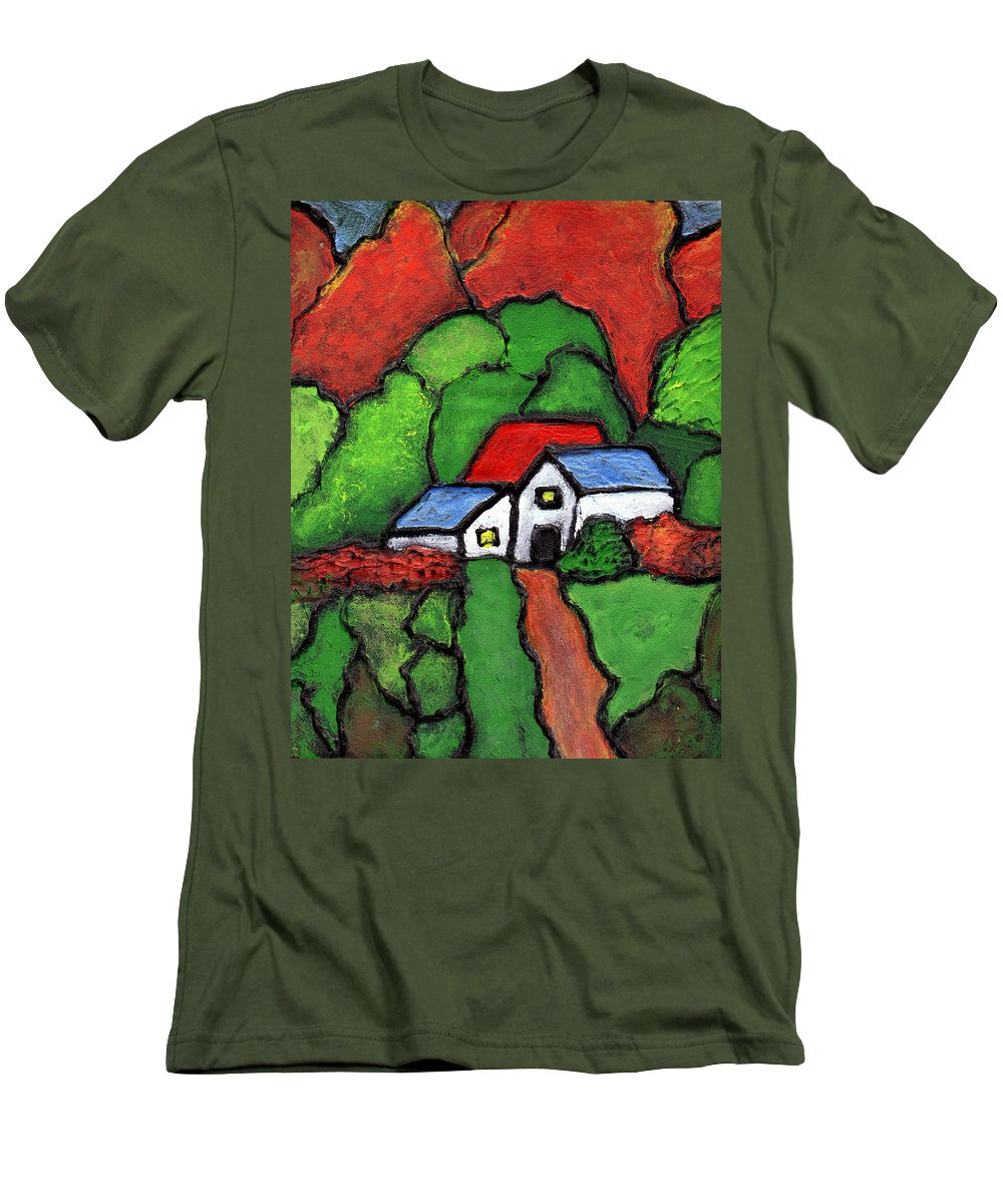 Rural Men's T-Shirt (Athletic Fit) featuring the painting Home In The Country by Wayne Potrafka
