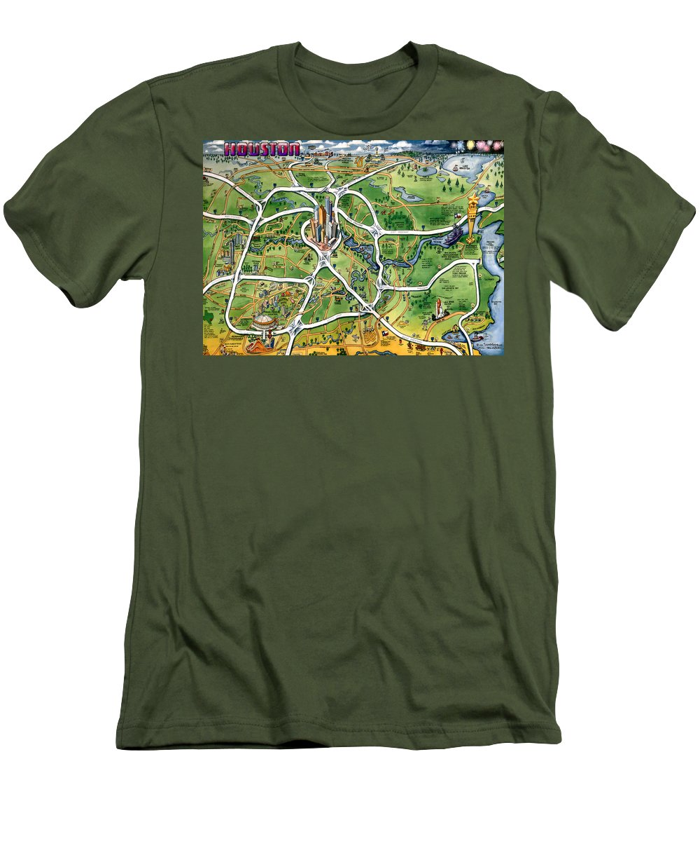 Houston Men's T-Shirt (Athletic Fit) featuring the painting Houston Texas Cartoon Map by Kevin Middleton