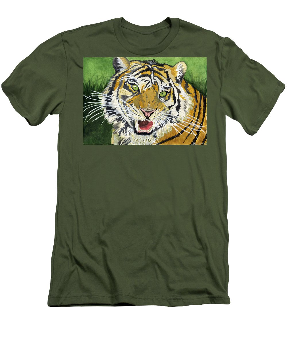Tiger Men's T-Shirt (Athletic Fit) featuring the painting Hungry Tiger by Alban Dizdari