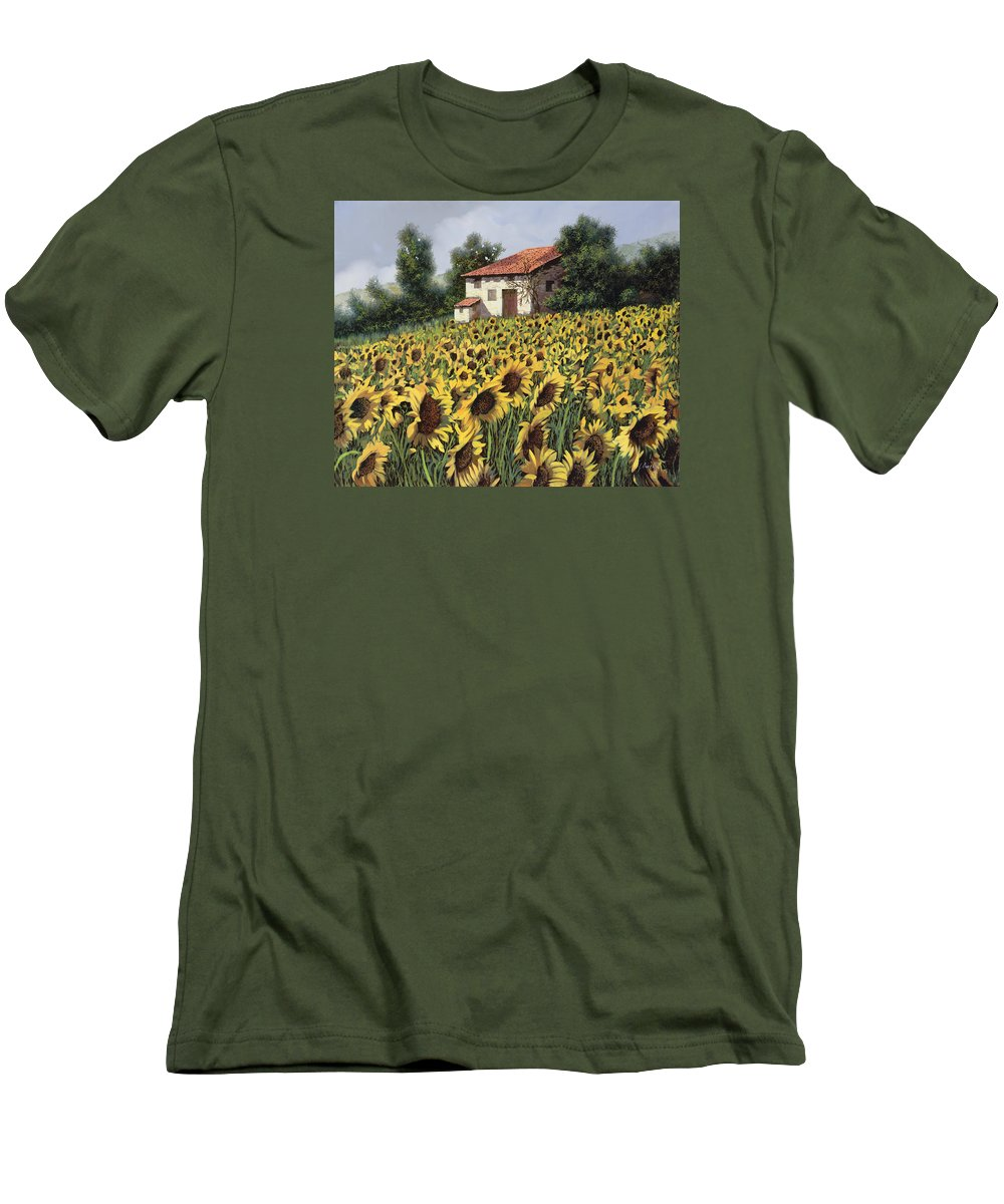 Tuscany Men's T-Shirt (Athletic Fit) featuring the painting I Girasoli Nel Campo by Guido Borelli