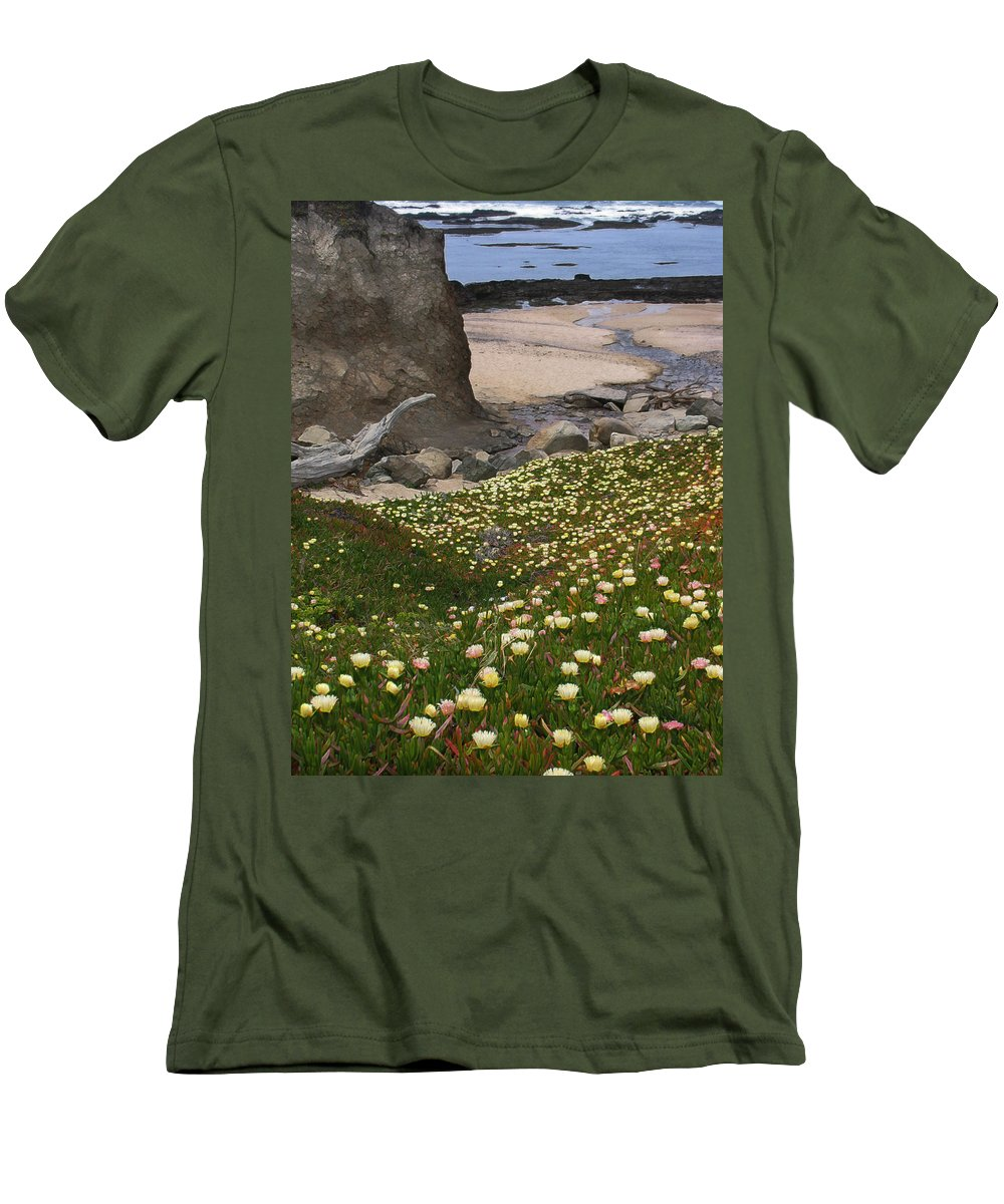 Landscape Men's T-Shirt (Athletic Fit) featuring the photograph Ice Plants On Moss Beach by Karen W Meyer