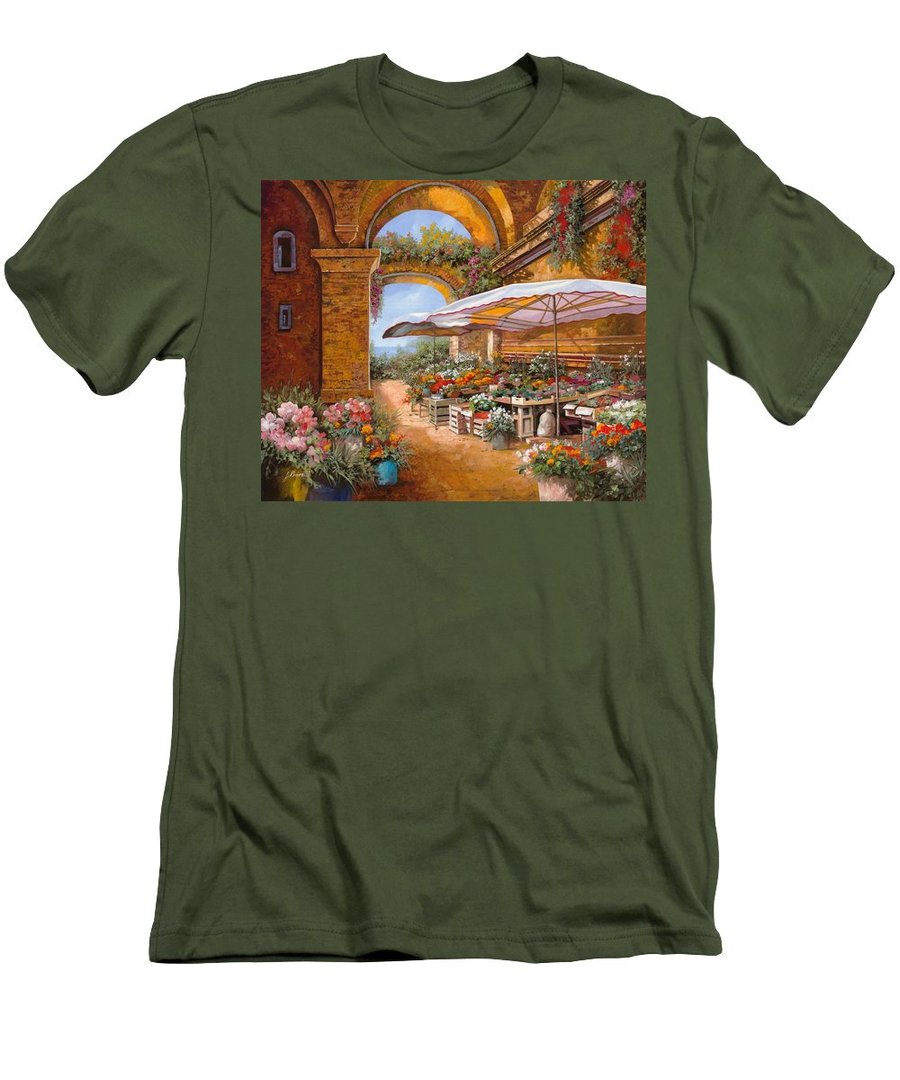 Market Men's T-Shirt (Athletic Fit) featuring the painting Il Mercato Sotto I Portici by Guido Borelli