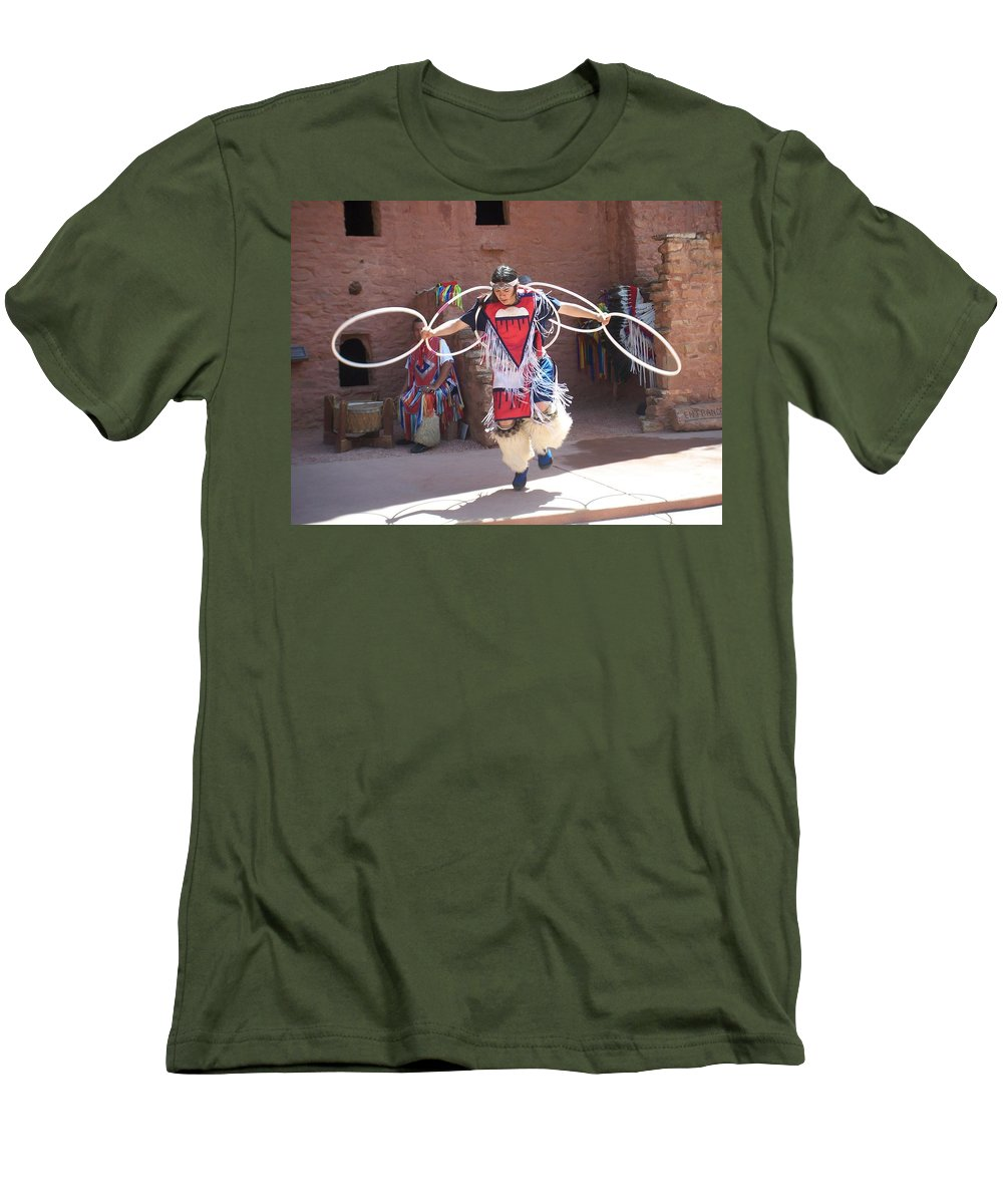 Indian Dancer Men's T-Shirt (Athletic Fit) featuring the photograph Indian Hoop Dancer by Anita Burgermeister