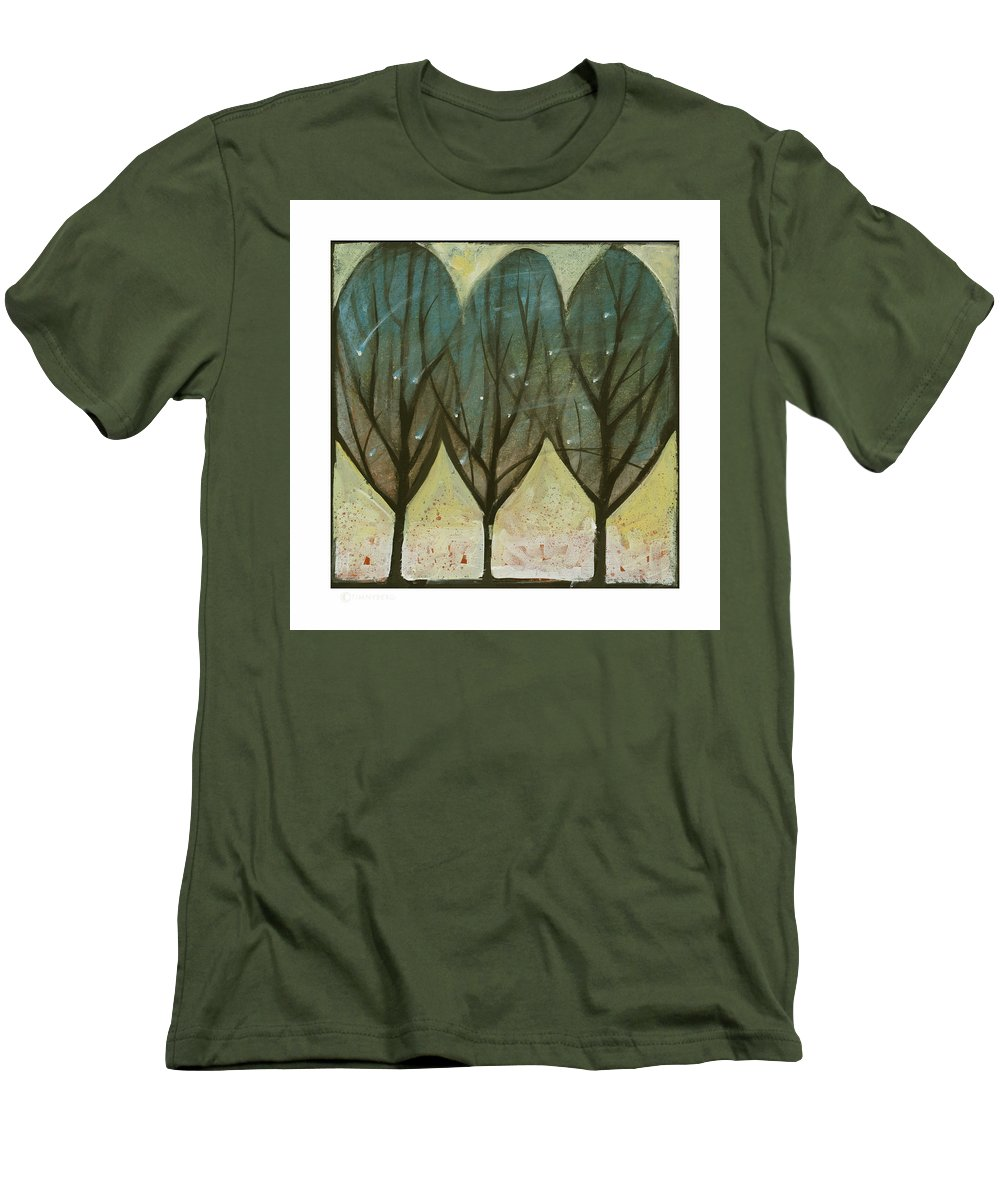 Trees Men's T-Shirt (Athletic Fit) featuring the painting Indian Summer Snow by Tim Nyberg