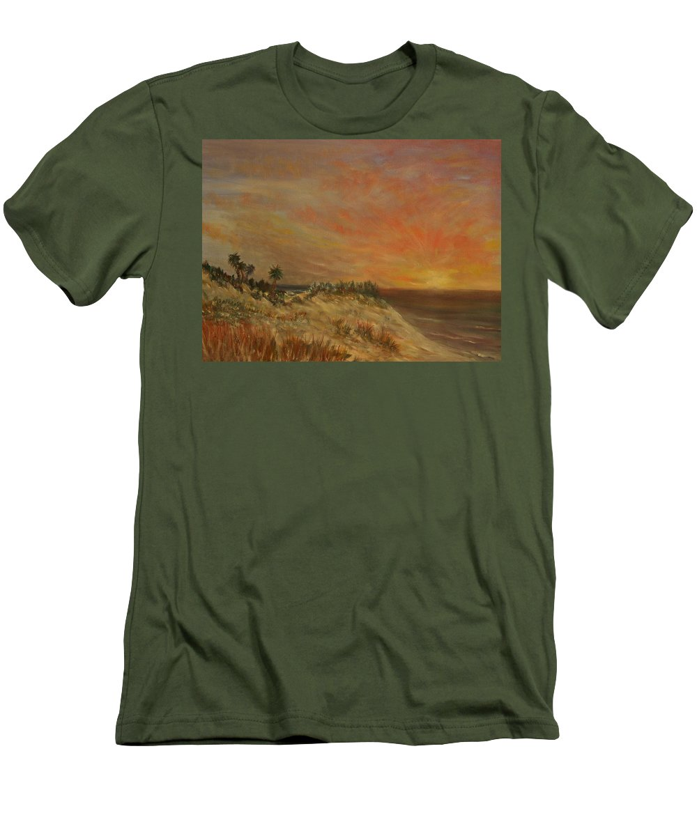 Sunset;beach;ocean;palm Trees Men's T-Shirt (Athletic Fit) featuring the painting Island Sunset by Ben Kiger