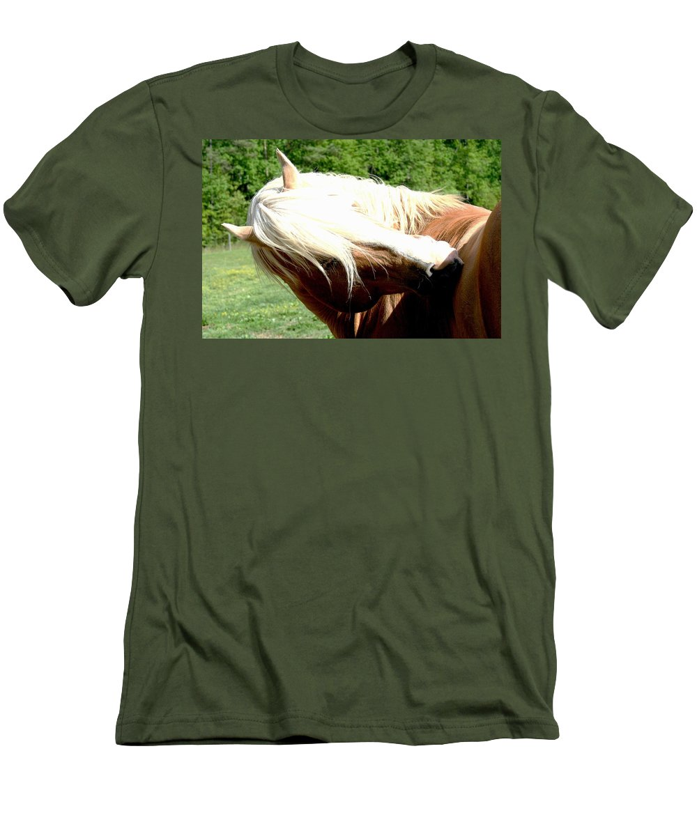 Horse Men's T-Shirt (Athletic Fit) featuring the photograph Itchy Spot by Tina Meador
