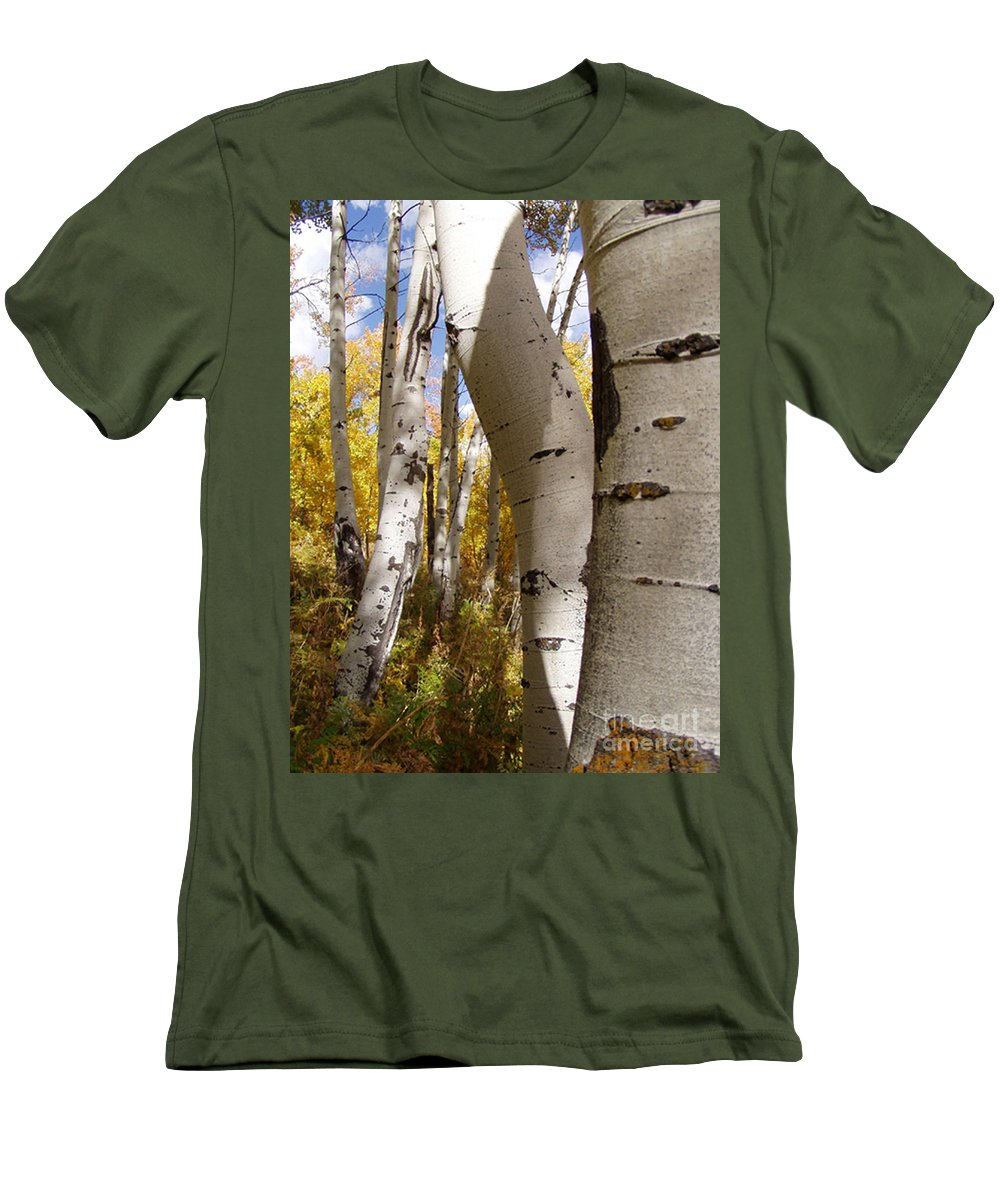 Trees Men's T-Shirt (Athletic Fit) featuring the photograph Jackson Hole Wyoming by Amanda Barcon