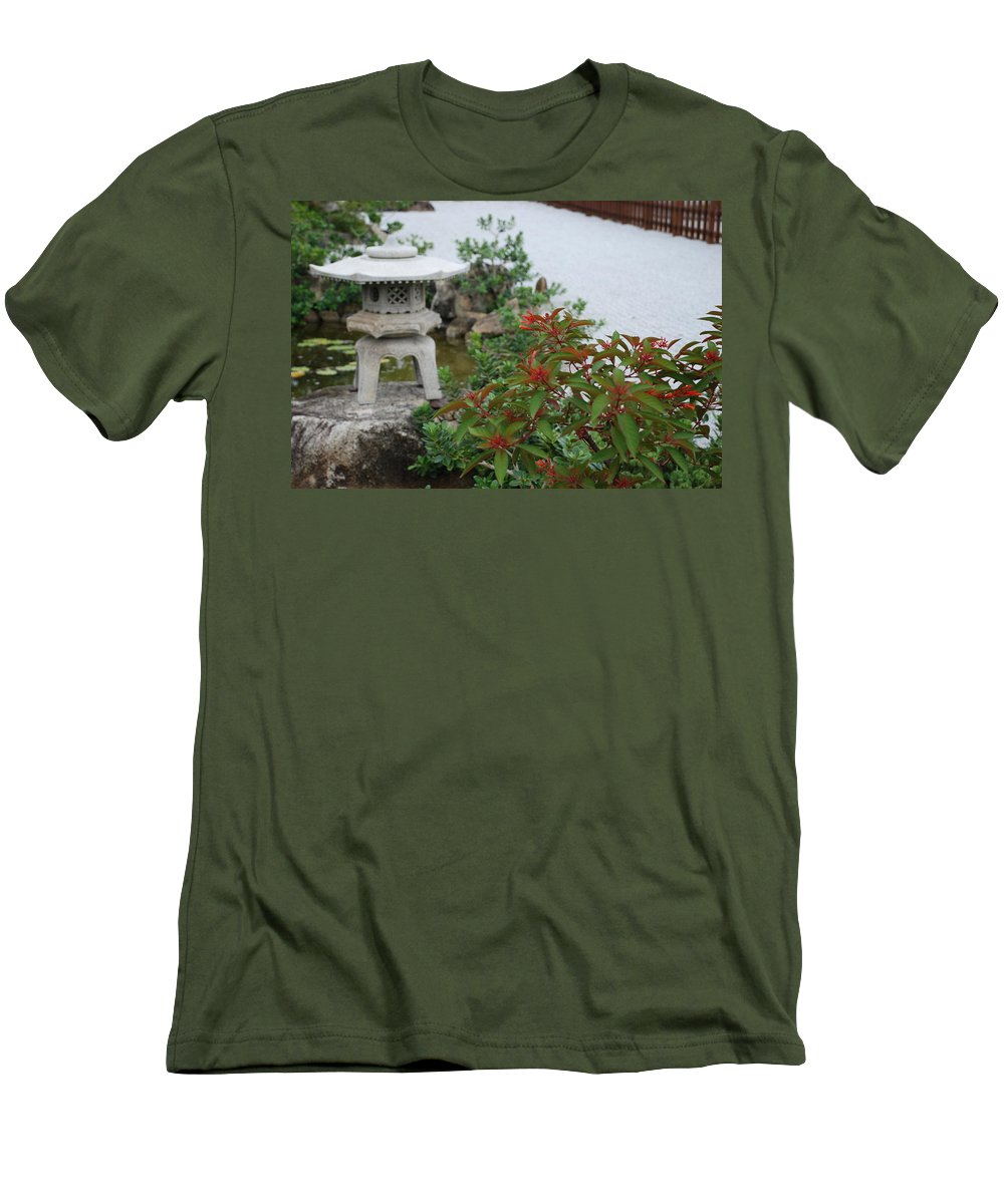 Rocks Men's T-Shirt (Athletic Fit) featuring the photograph Japanese Garden Lantern by Rob Hans