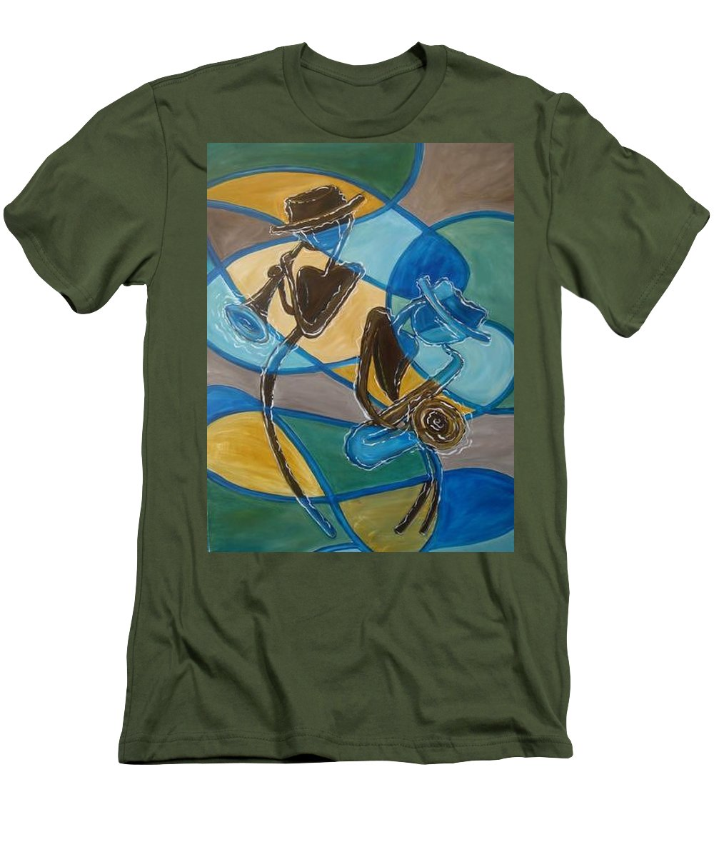 Jazz Men's T-Shirt (Athletic Fit) featuring the painting Jazz Raz by Regina Walsh
