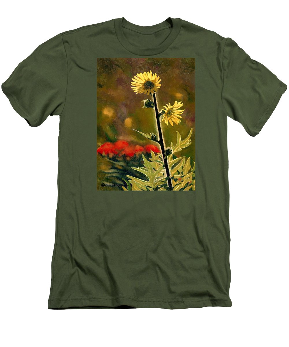 Prairie Flowers Men's T-Shirt (Athletic Fit) featuring the painting July Afternoon-compass Plant by Bruce Morrison