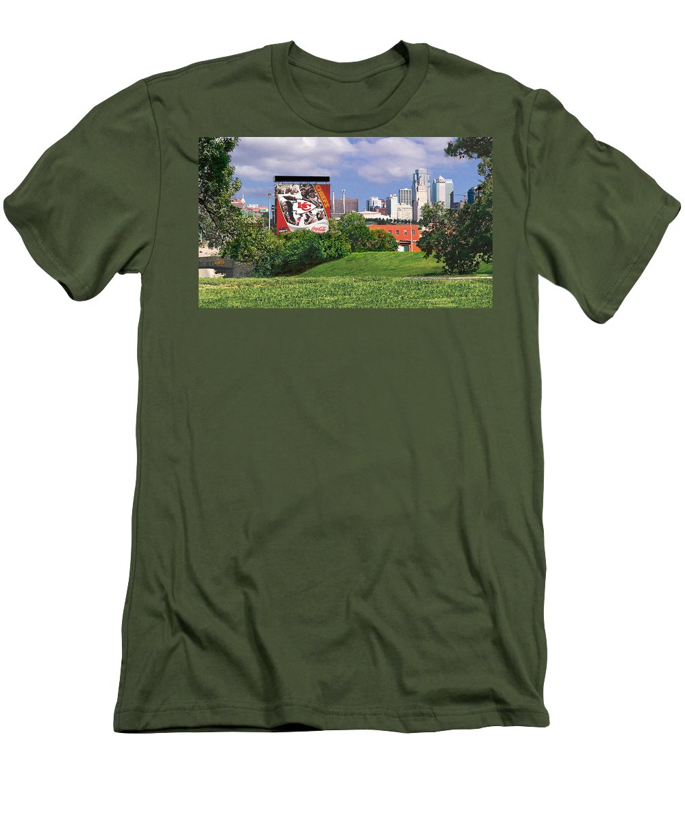 Landscape Men's T-Shirt (Athletic Fit) featuring the photograph Kansas City Sky Line by Steve Karol