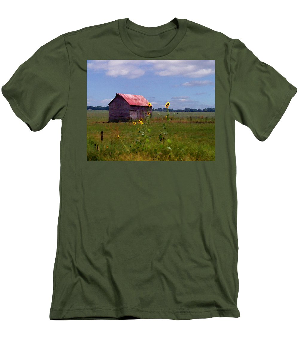 Lanscape Men's T-Shirt (Athletic Fit) featuring the photograph Kansas Landscape by Steve Karol