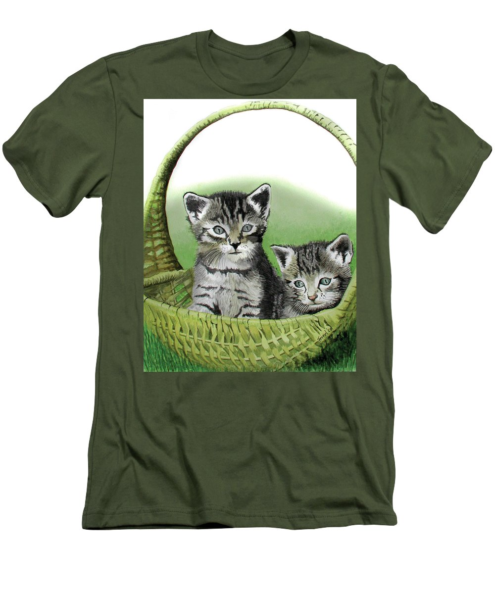 Cat Men's T-Shirt (Athletic Fit) featuring the painting Kitty Caddy by Ferrel Cordle