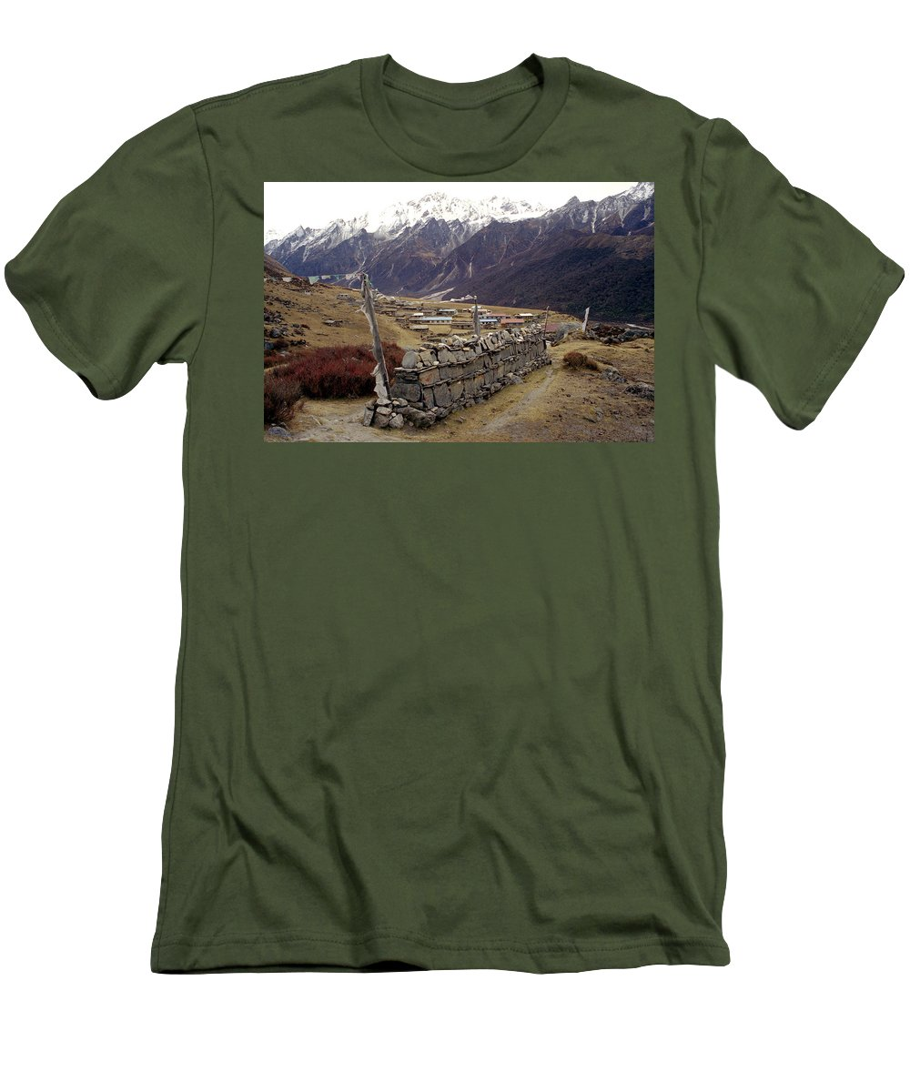Langtang Men's T-Shirt (Athletic Fit) featuring the photograph Kyanjin Gompa by Patrick Klauss
