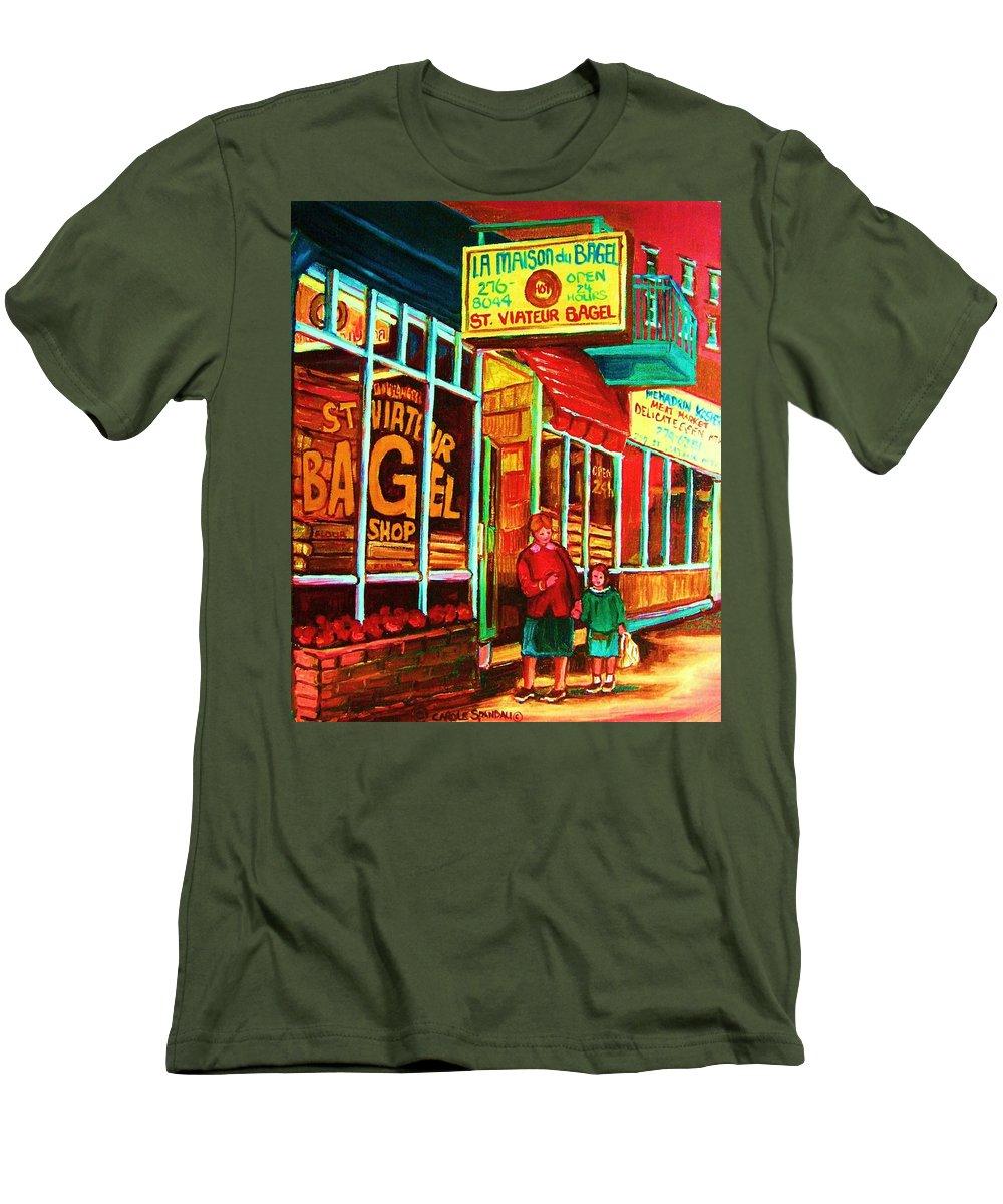 Montreal Men's T-Shirt (Athletic Fit) featuring the painting La Maison Du Bagel by Carole Spandau