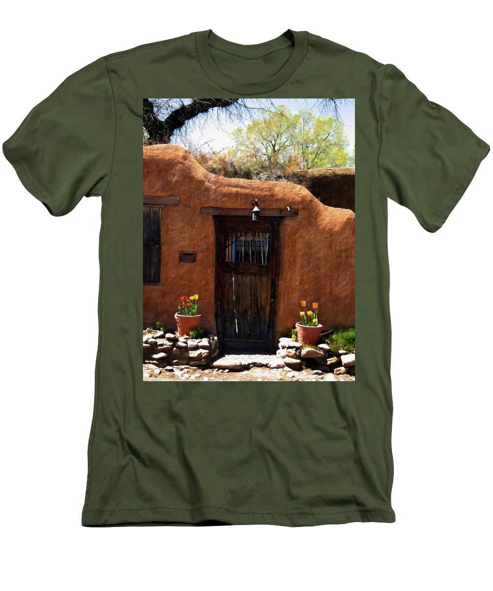 Door Men's T-Shirt (Athletic Fit) featuring the photograph La Puerta Marron Vieja - The Old Brown Door by Kurt Van Wagner