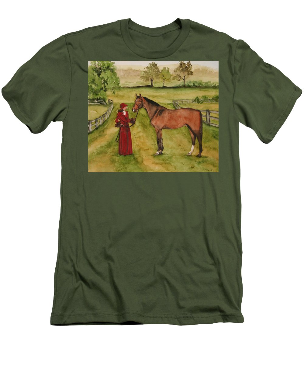Horse Men's T-Shirt (Athletic Fit) featuring the painting Lady And Horse by Jean Blackmer
