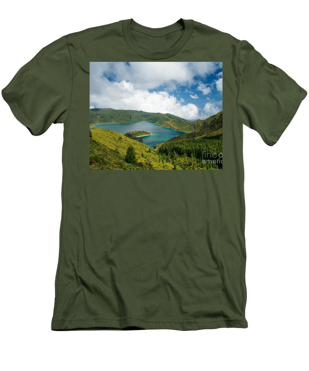 Lagoa Do Fogo Men's T-Shirt (Athletic Fit) featuring the photograph Lagoa Do Fogo by Gaspar Avila