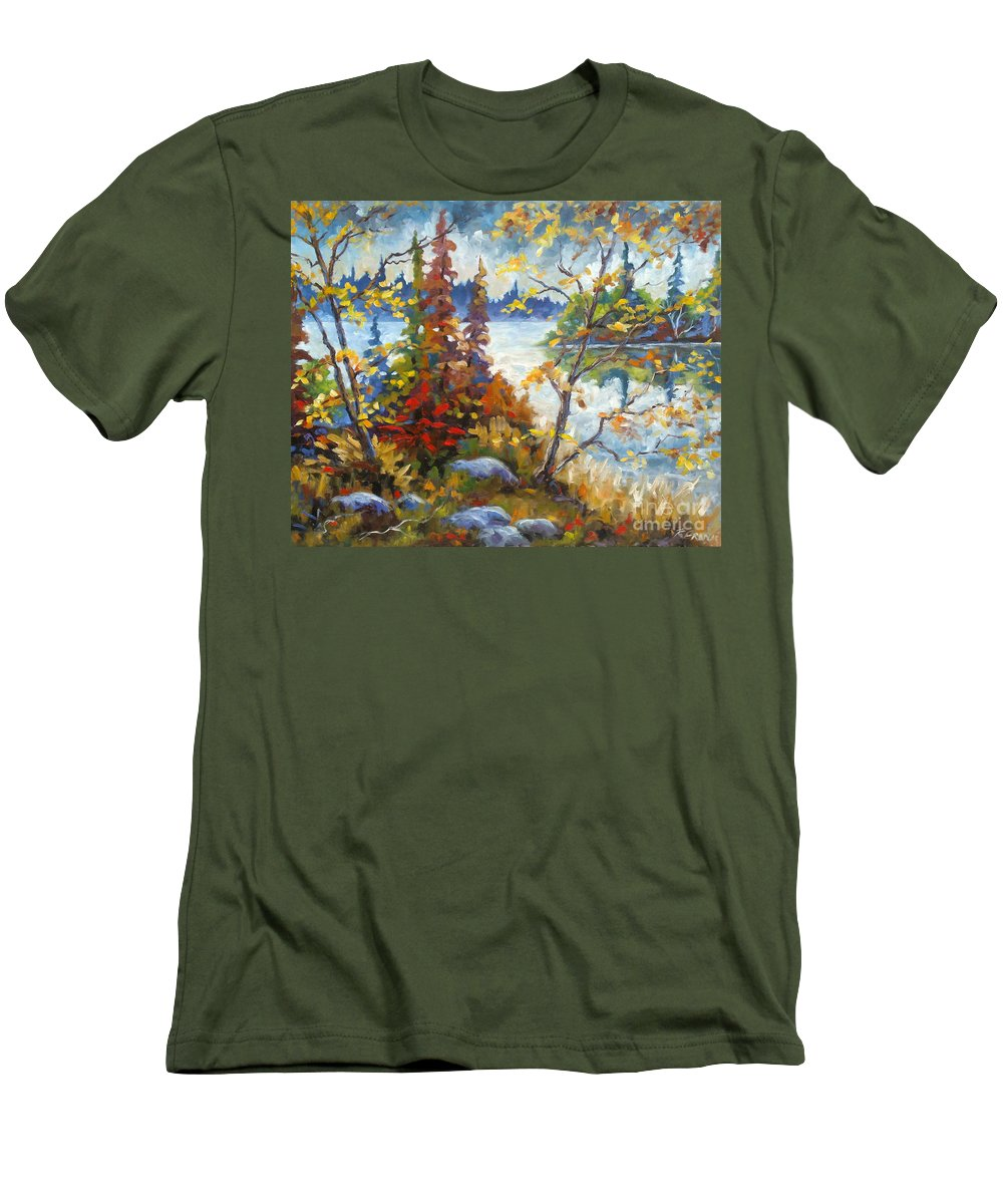 Trees Men's T-Shirt (Athletic Fit) featuring the painting Lake Cartier by Richard T Pranke