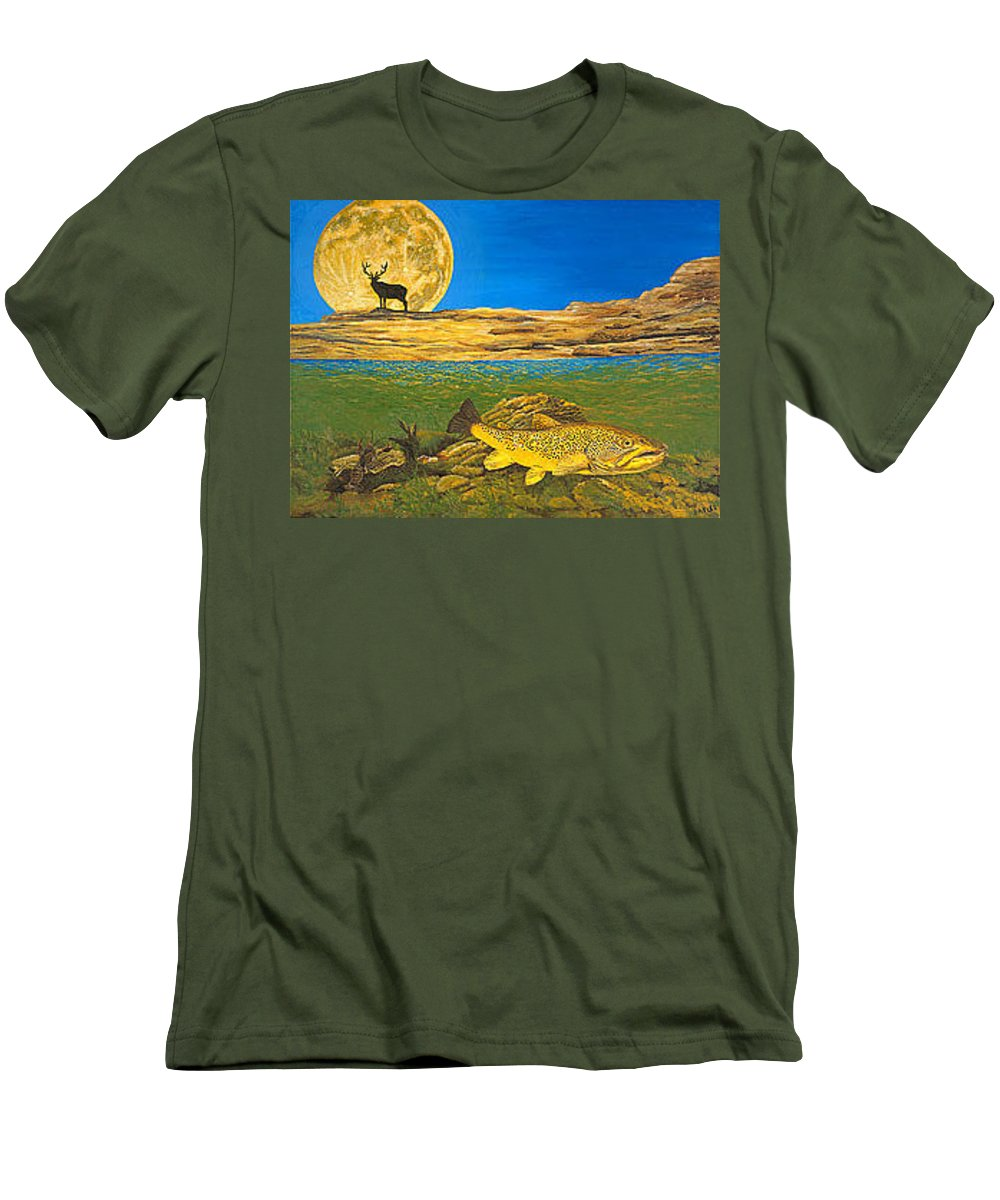 Artwork Men's T-Shirt (Athletic Fit) featuring the painting Landscape Art Fish Art Brown Trout Timing Bull Elk Full Moon Nature Contemporary Modern Decor by Baslee Troutman