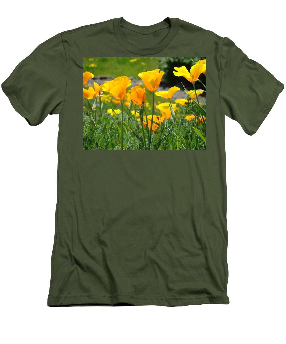 �poppies Artwork� Men's T-Shirt (Athletic Fit) featuring the photograph Landscape Poppy Flowers 5 Orange Poppies Hillside Meadow Art by Baslee Troutman