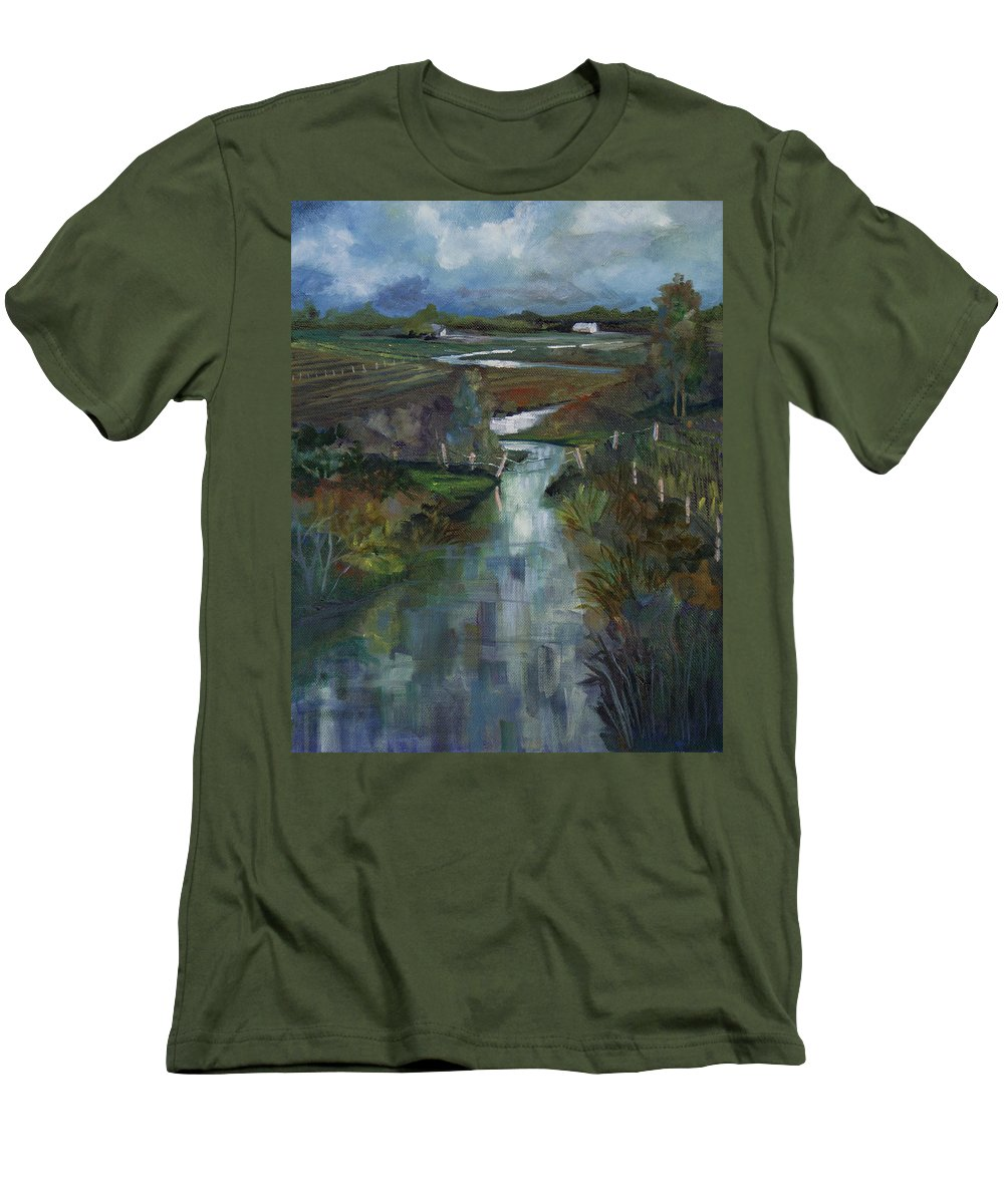 River Men's T-Shirt (Athletic Fit) featuring the painting Laramie River Valley by Heather Coen