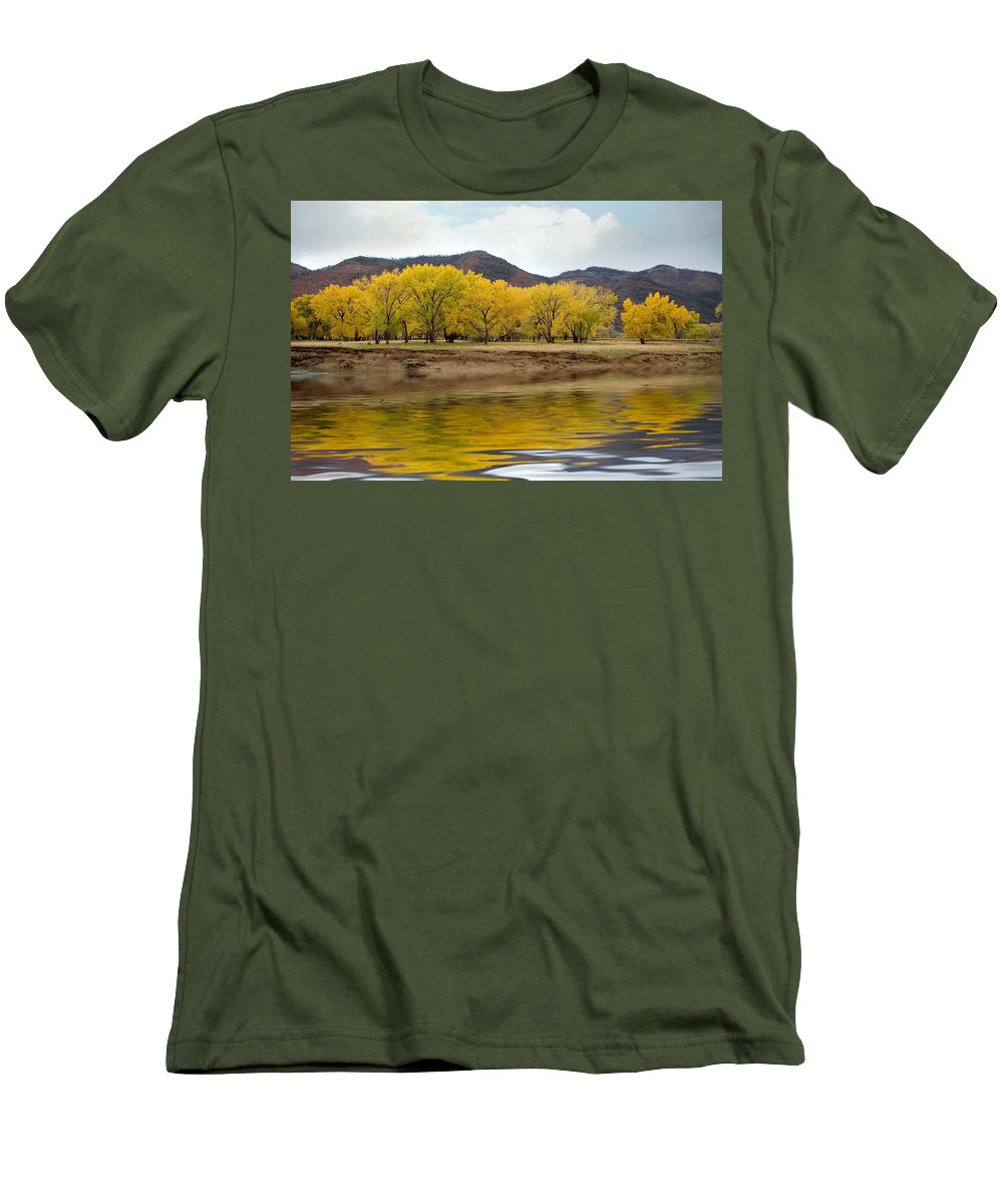 River Men's T-Shirt (Athletic Fit) featuring the photograph Las Animas Fall by Jerry McElroy