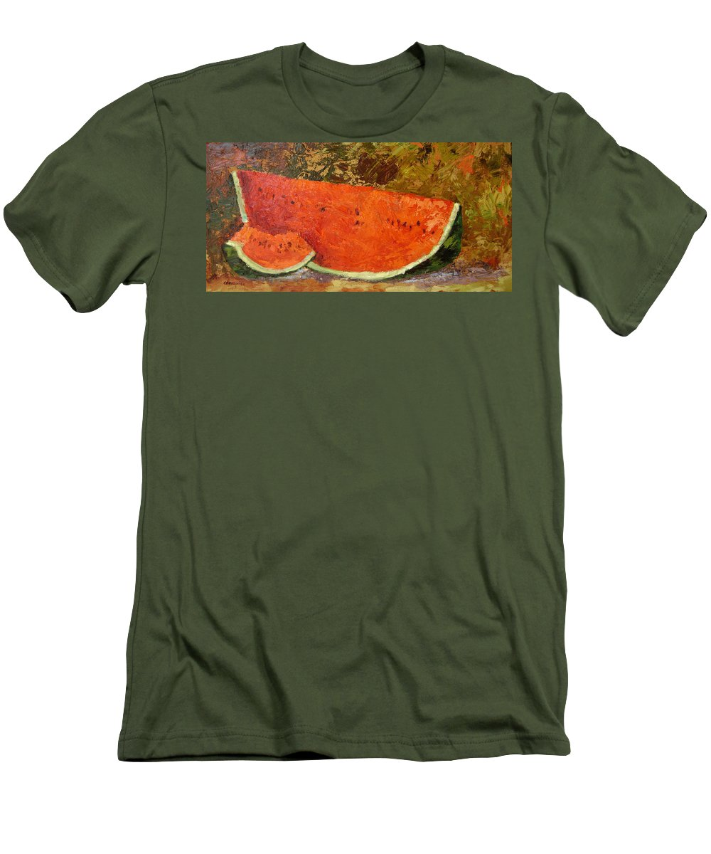 Watermelon Men's T-Shirt (Athletic Fit) featuring the painting Last Of Summer by Ginger Concepcion