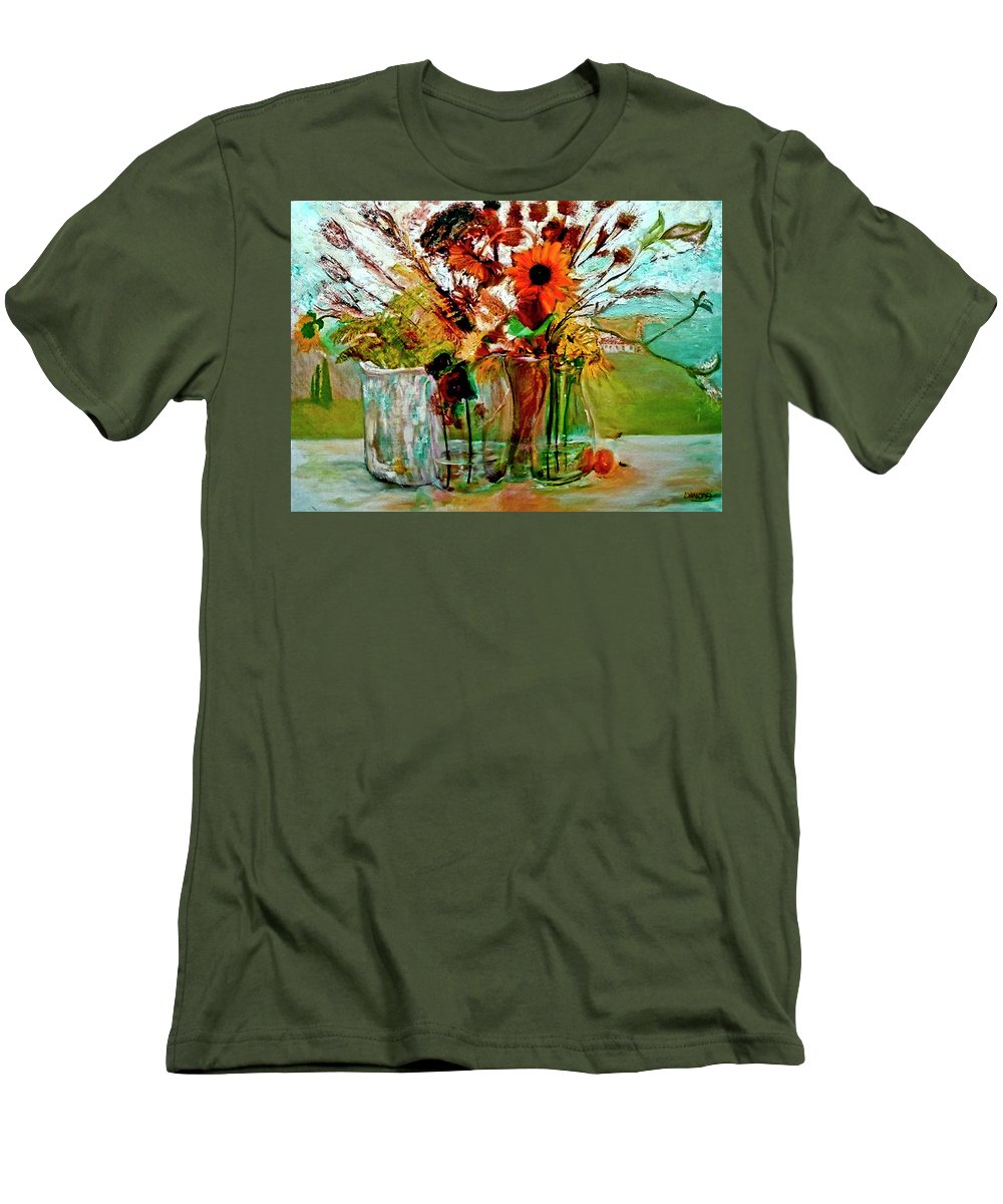 Flowers Jar Glass Thistle Picnic Green Lemon Rose Men's T-Shirt (Athletic Fit) featuring the painting Late Summer by Jack Diamond
