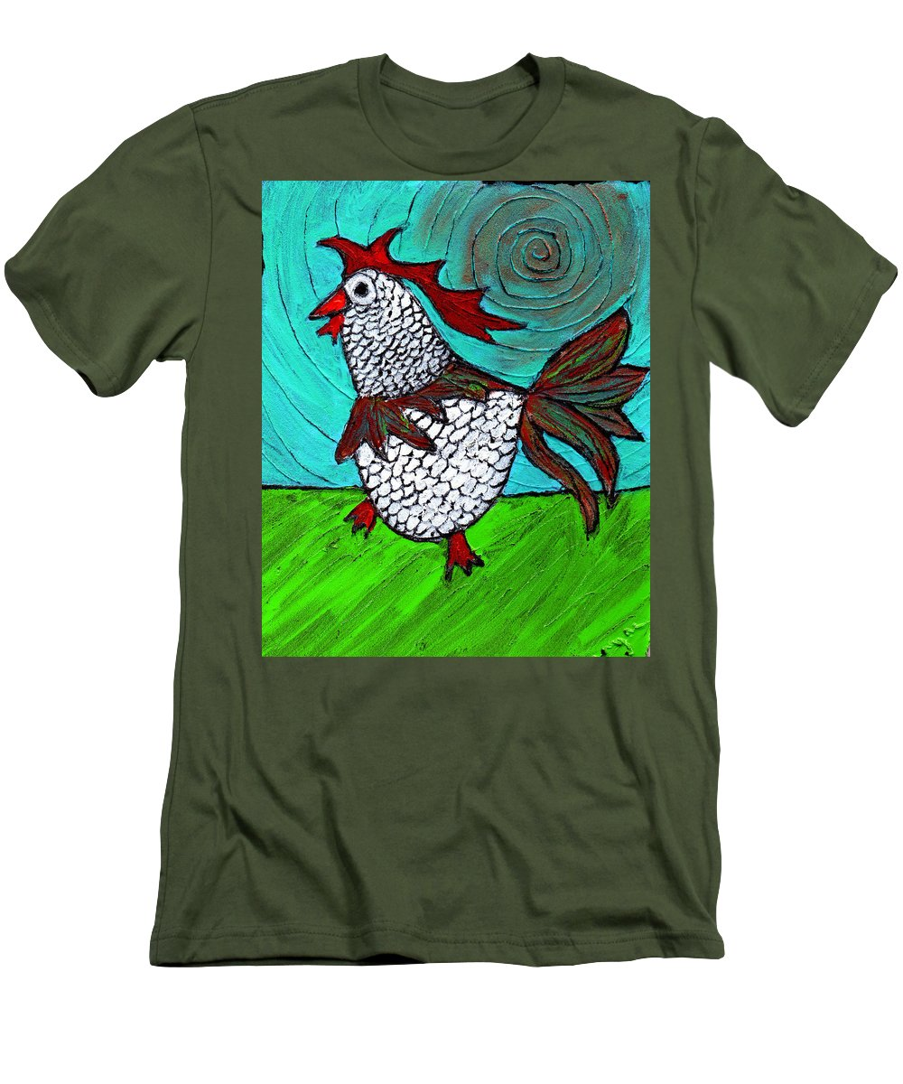 Rooster Men's T-Shirt (Athletic Fit) featuring the painting Leader Of The Pack by Wayne Potrafka
