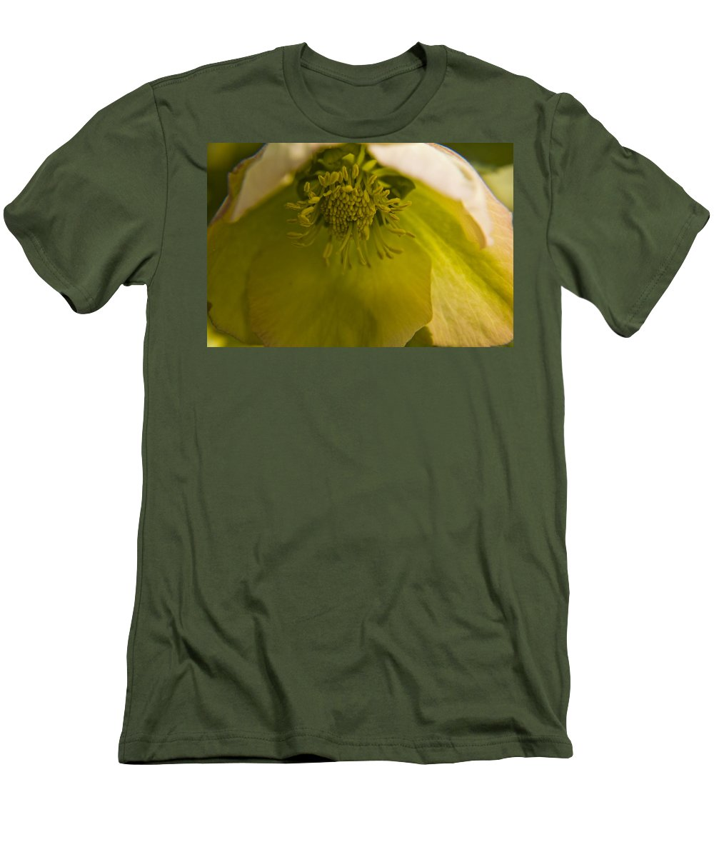 Flower Men's T-Shirt (Athletic Fit) featuring the photograph Lenten Rose Interior by Teresa Mucha