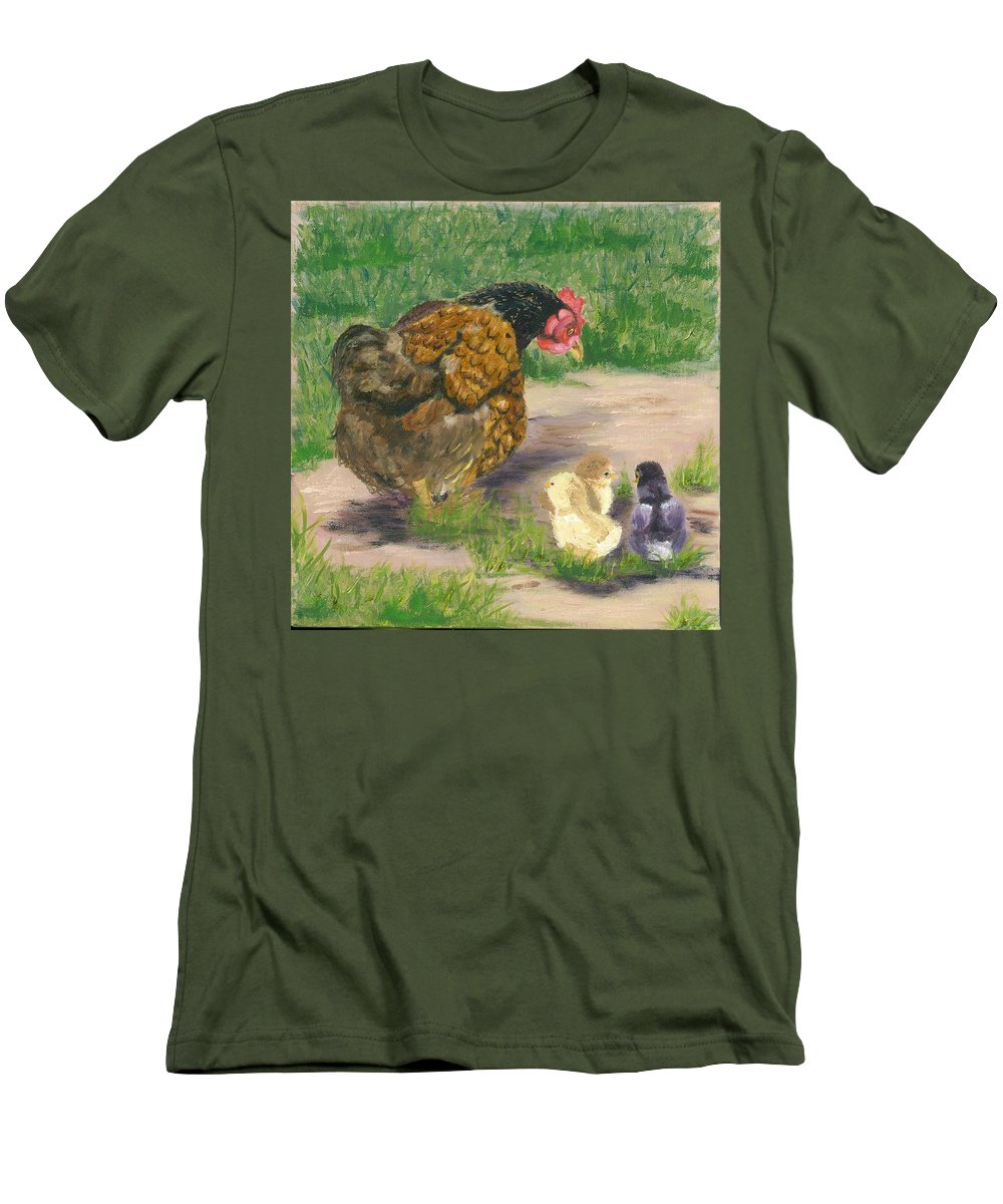 Cickens Chicks Hen Barnyard Bantams Farm Bucolic Nature Men's T-Shirt (Athletic Fit) featuring the painting Lesson Time by Paula Emery