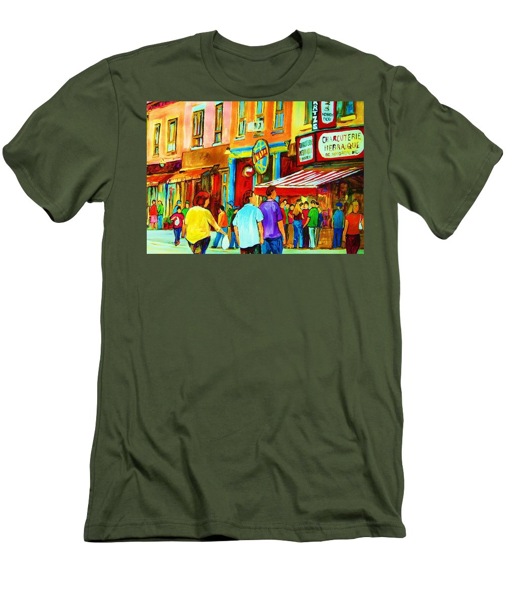 Cityscape Men's T-Shirt (Athletic Fit) featuring the painting Lets Meet For Lunch by Carole Spandau
