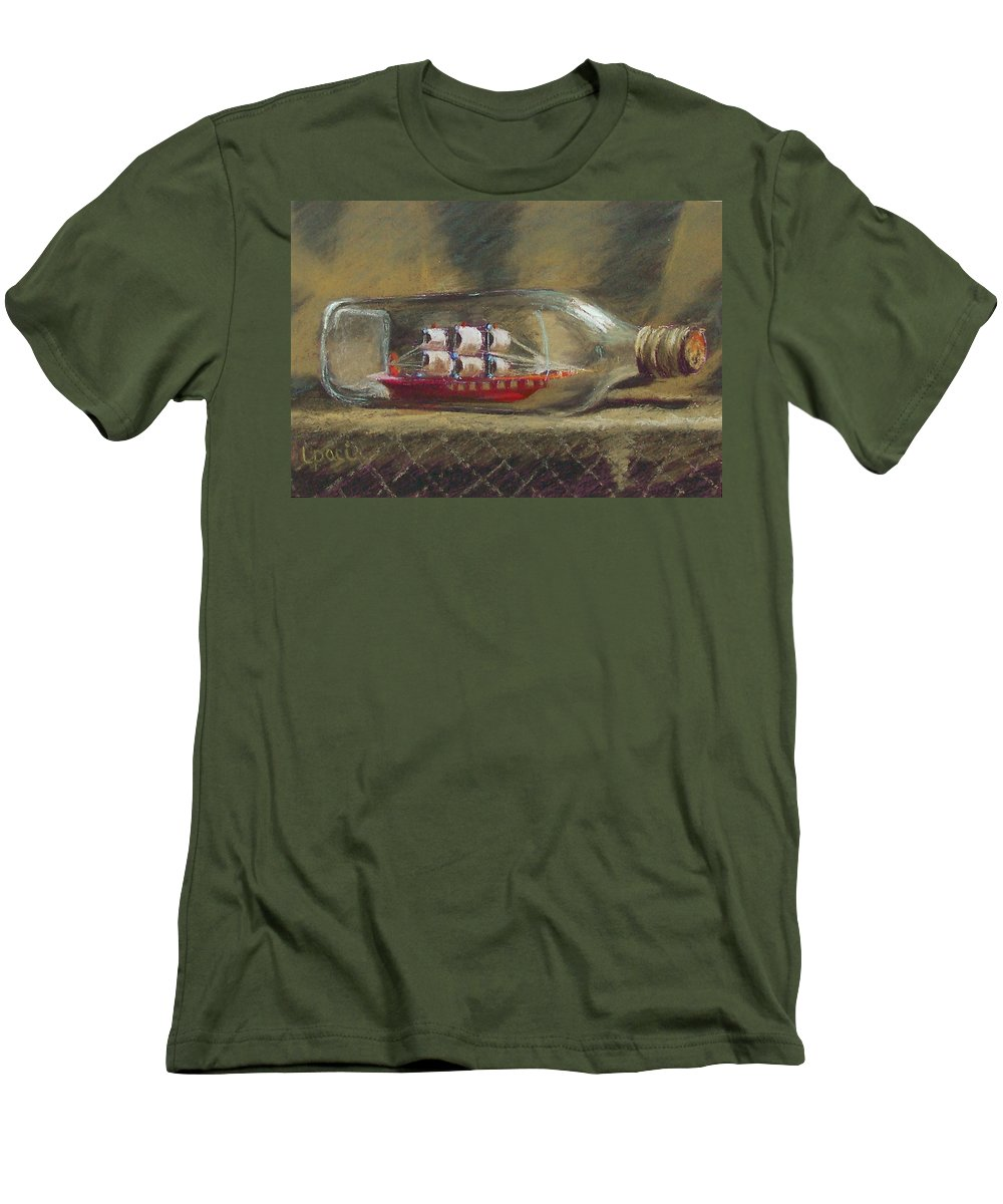Ship In A Bottle Men's T-Shirt (Athletic Fit) featuring the painting Life In A Bottle by Laurie Paci