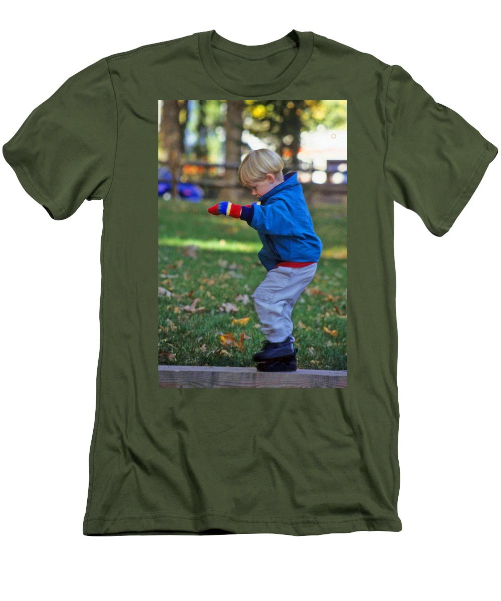 Boy Balancing Men's T-Shirt (Athletic Fit) featuring the photograph Life In Perfect Balance by Laurie Paci