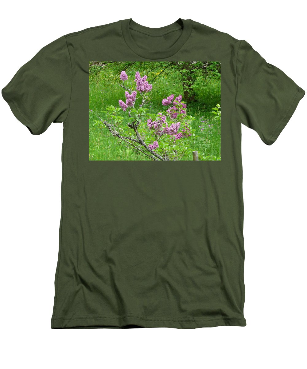 Flower Men's T-Shirt (Athletic Fit) featuring the photograph Lilac In The Spring Meadow by Valerie Ornstein