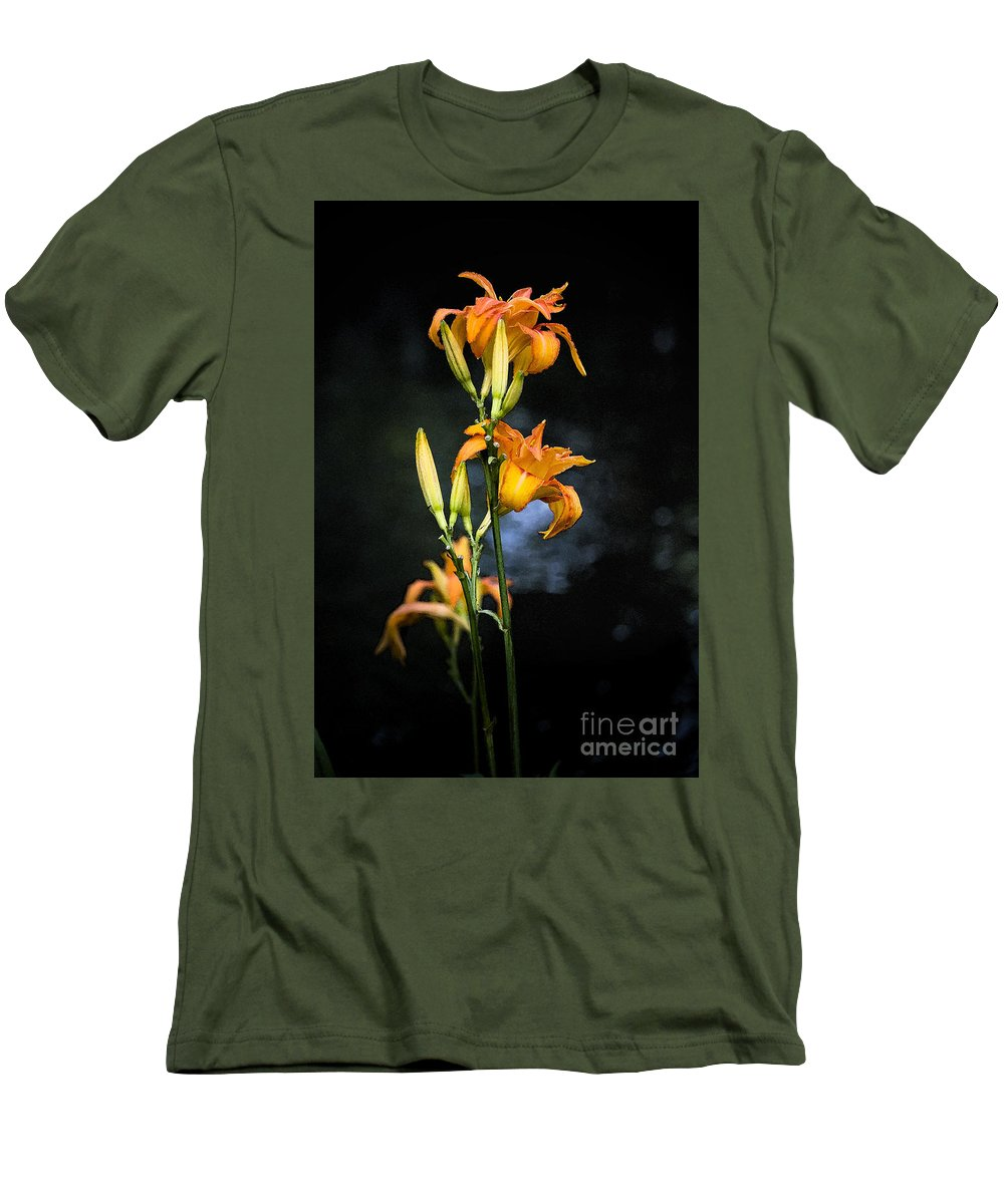 Lily Monet Garden Flora Men's T-Shirt (Athletic Fit) featuring the photograph Lily In Monets Garden by Avalon Fine Art Photography
